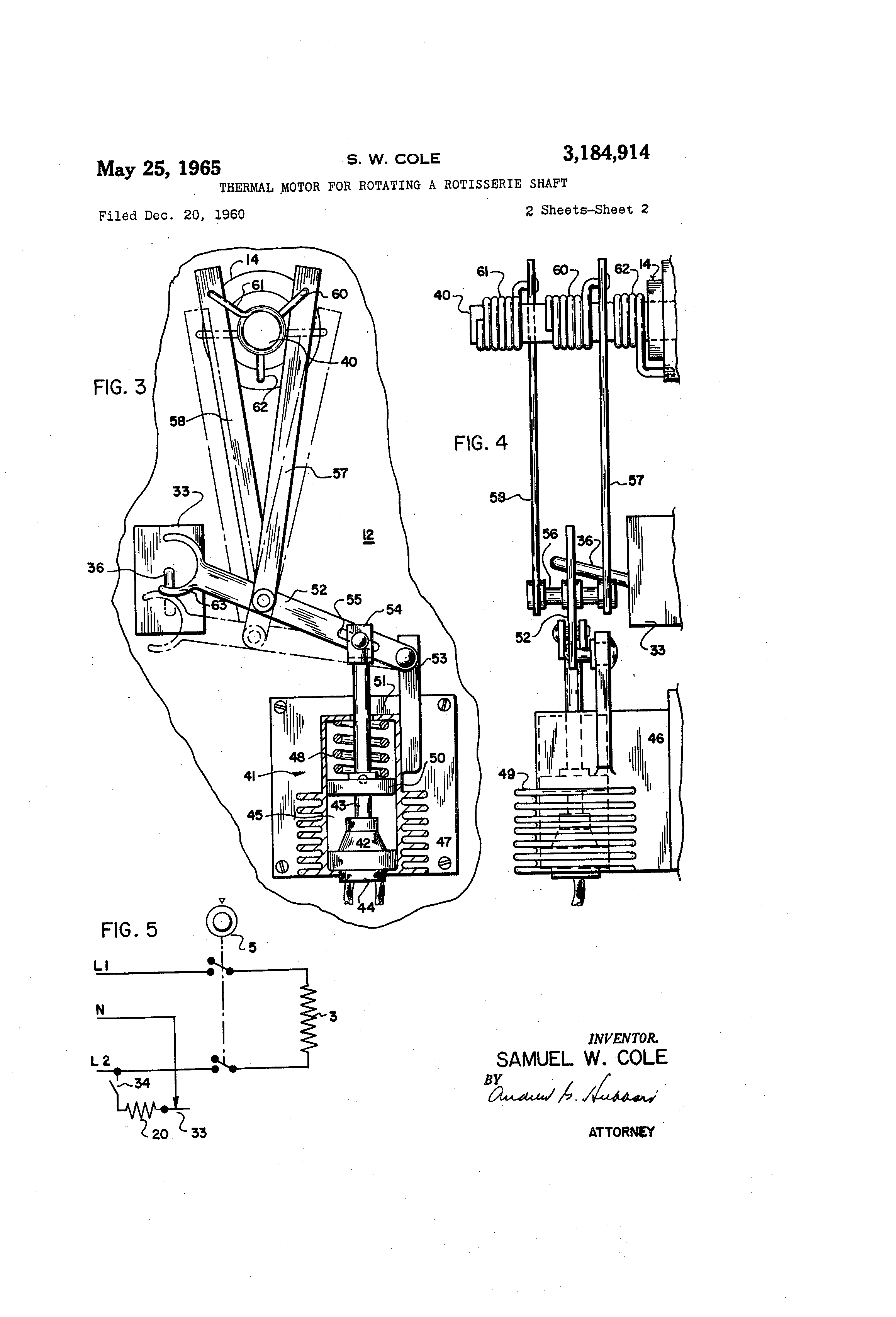Patent Us3184914 Thermal Motor For Rotating A Rotisserie Shaft Robert S Oven Wiring Diagram Drawing