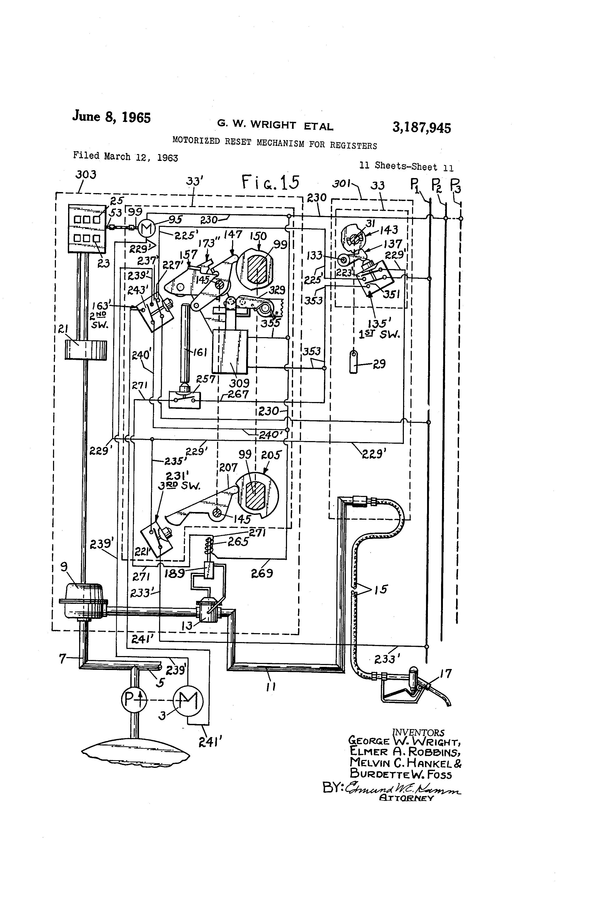 Brevet Us3187945 Motorized Reset Mechanism For Registers