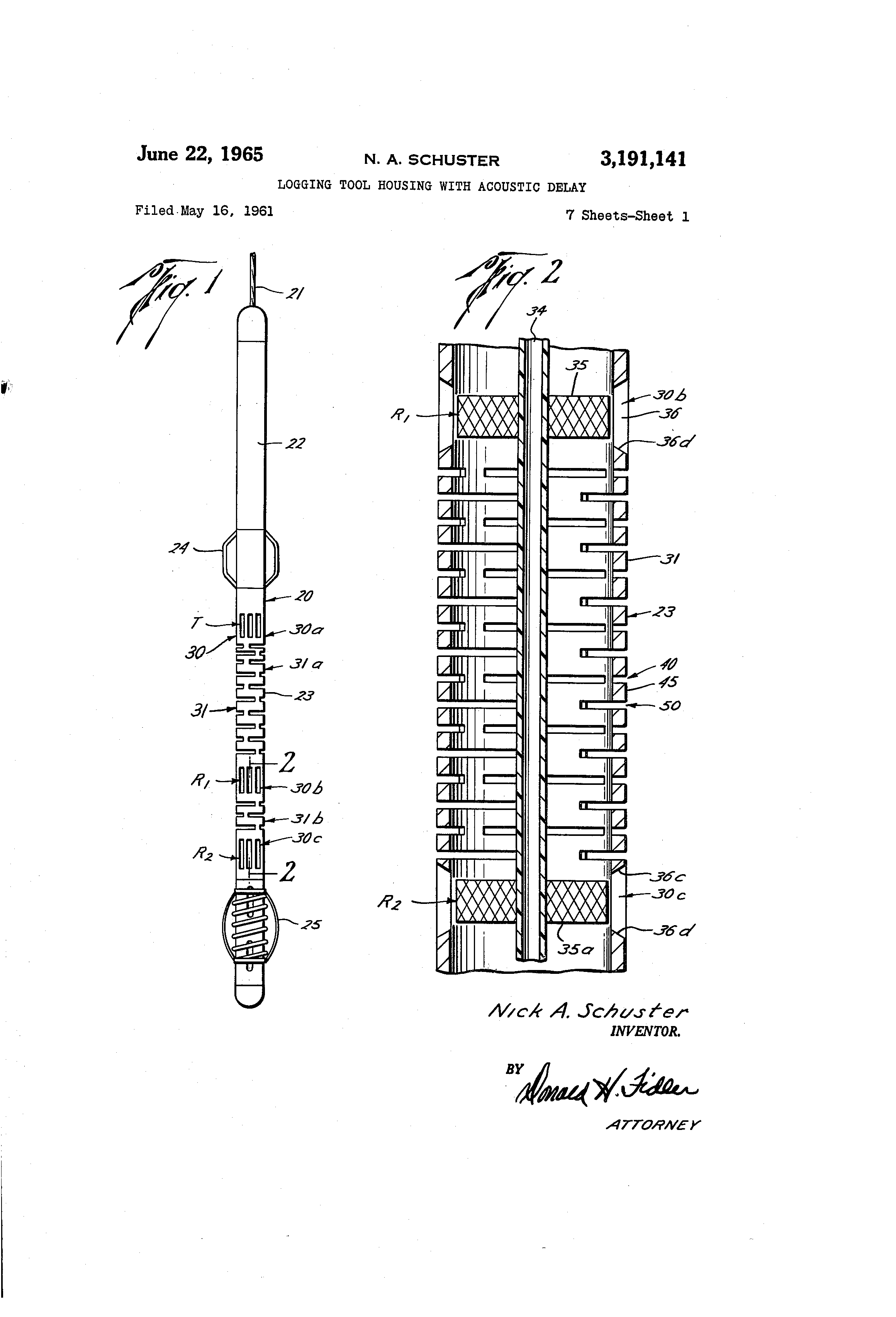 patent us3191141 - logging tool housing with acoustic delay