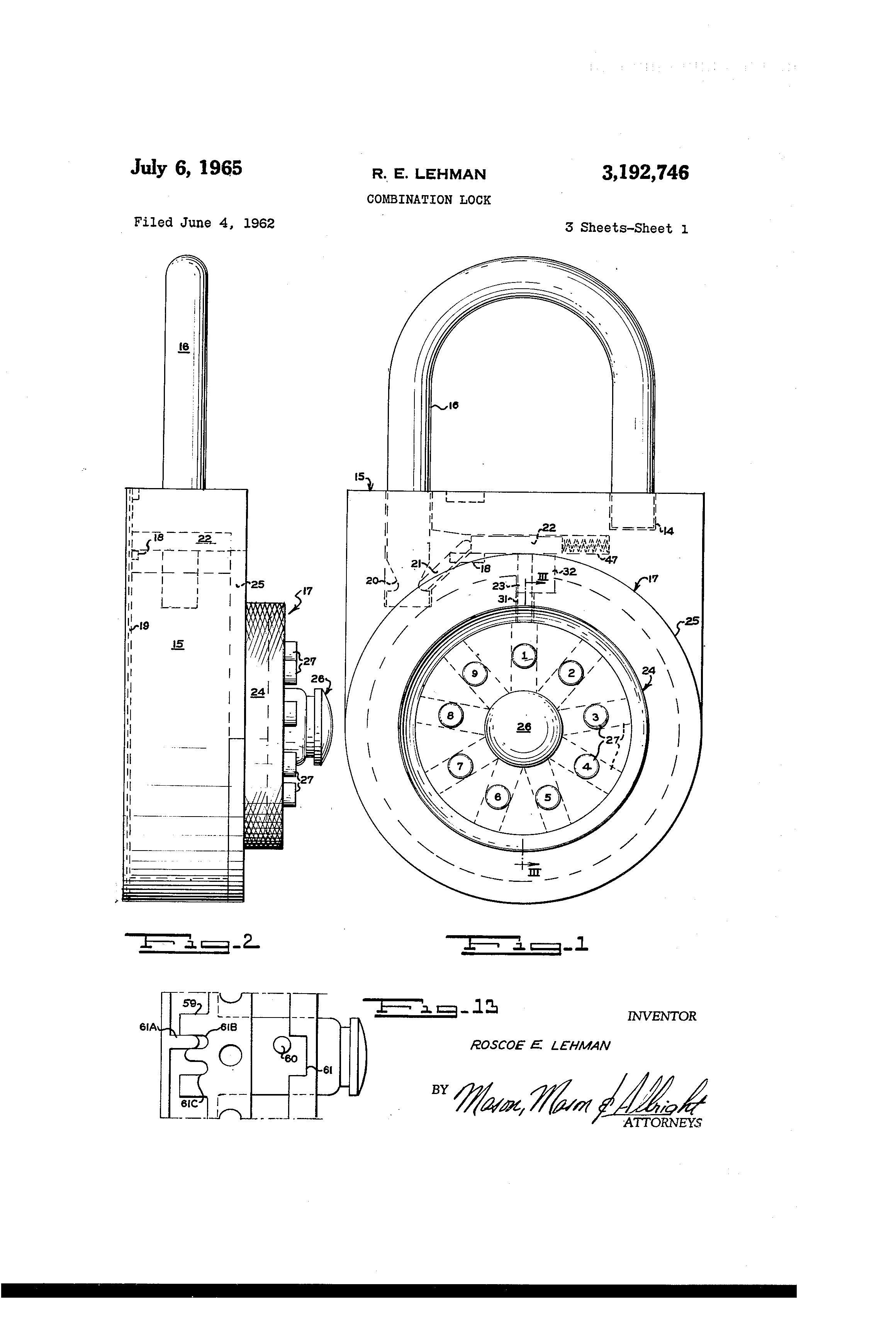 Patente Us3192746 Combination Lock Google Patentes Diagram