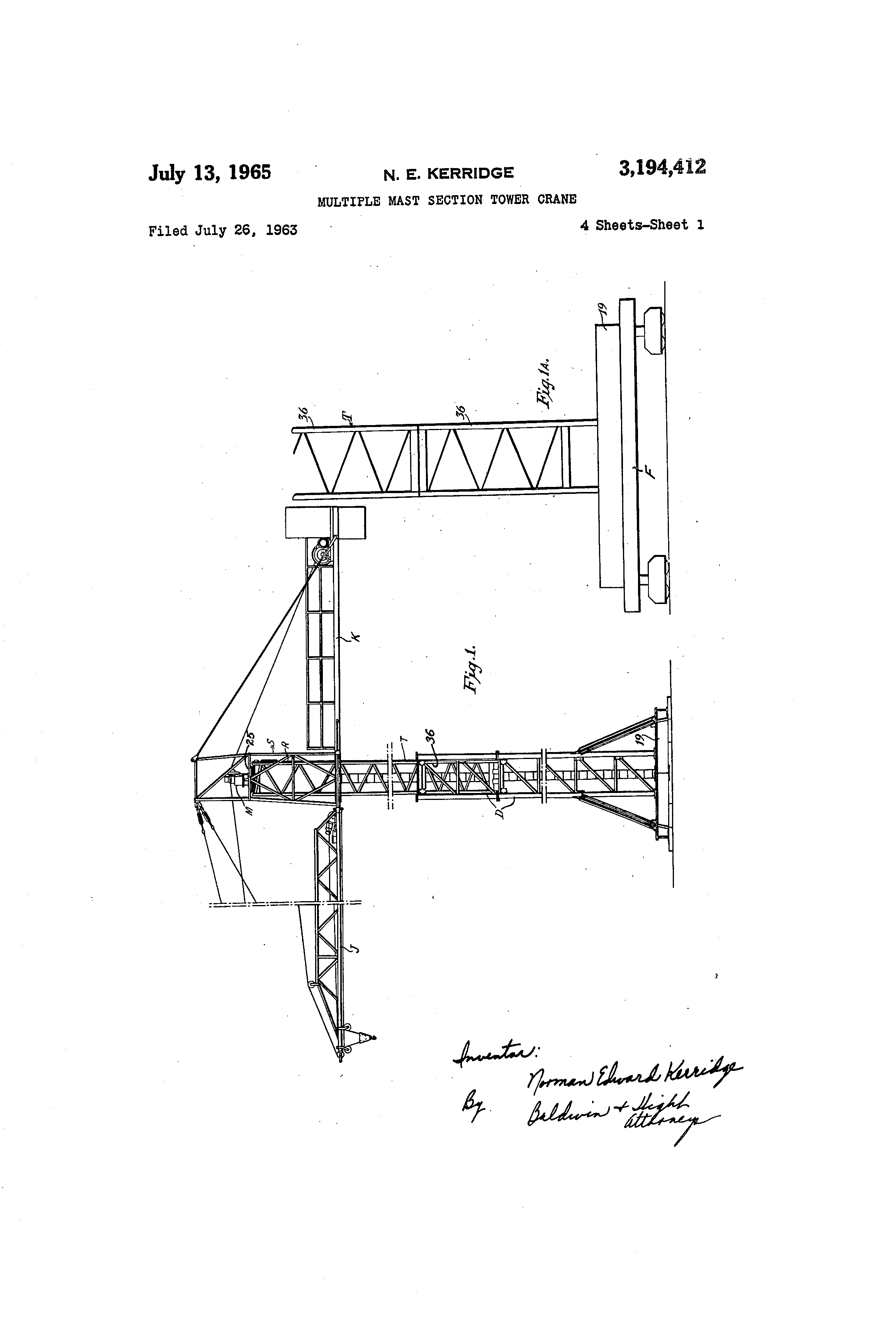 Tower Crane Inventor : Patent us multiple mast section tower crane