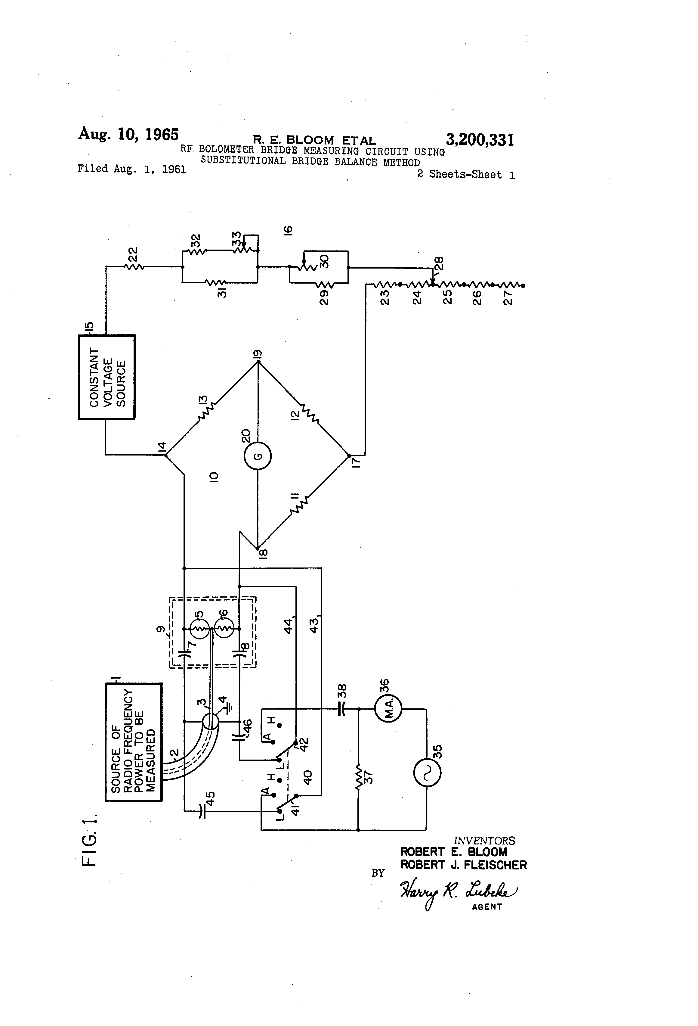 Patent Us3200331 Rf Bolometer Bridge Measuring Circuit Using Of An Electrical Showing The Wheatstone Drawing