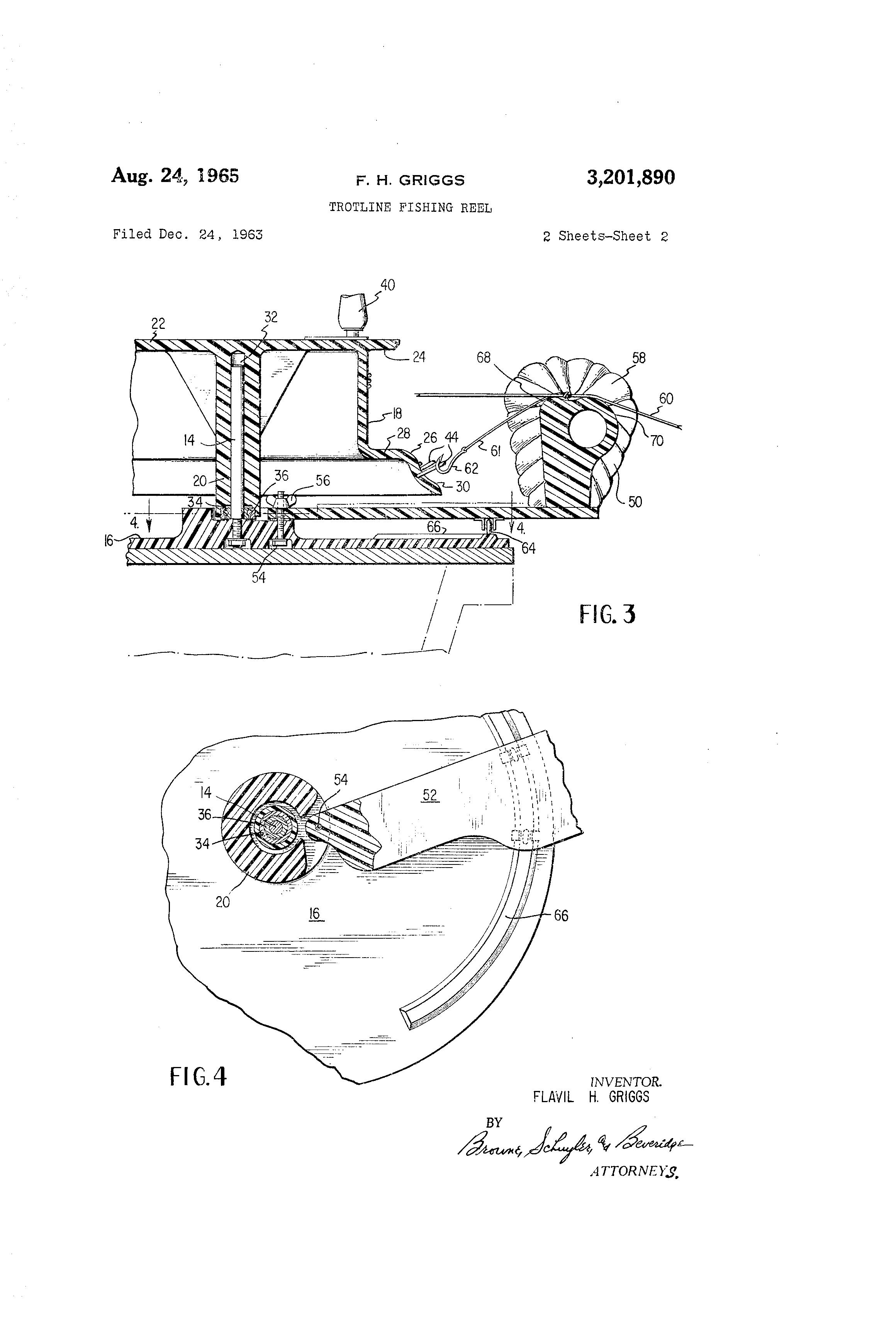 Patent Us3201890 Trotline Fishing Reel Google Patents