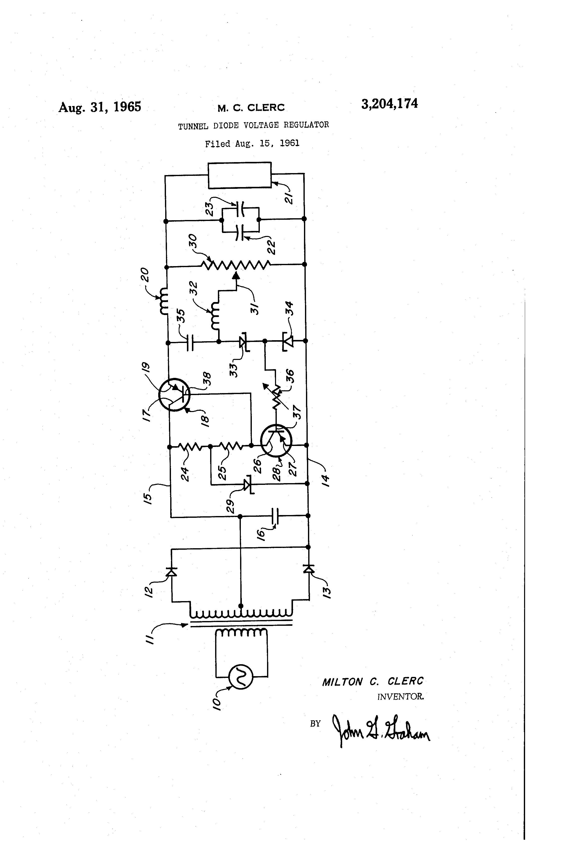 Patent Us3204174 Tunnel Diode Voltage Regulator Google Patents Circuit Diagram Zener Drawing