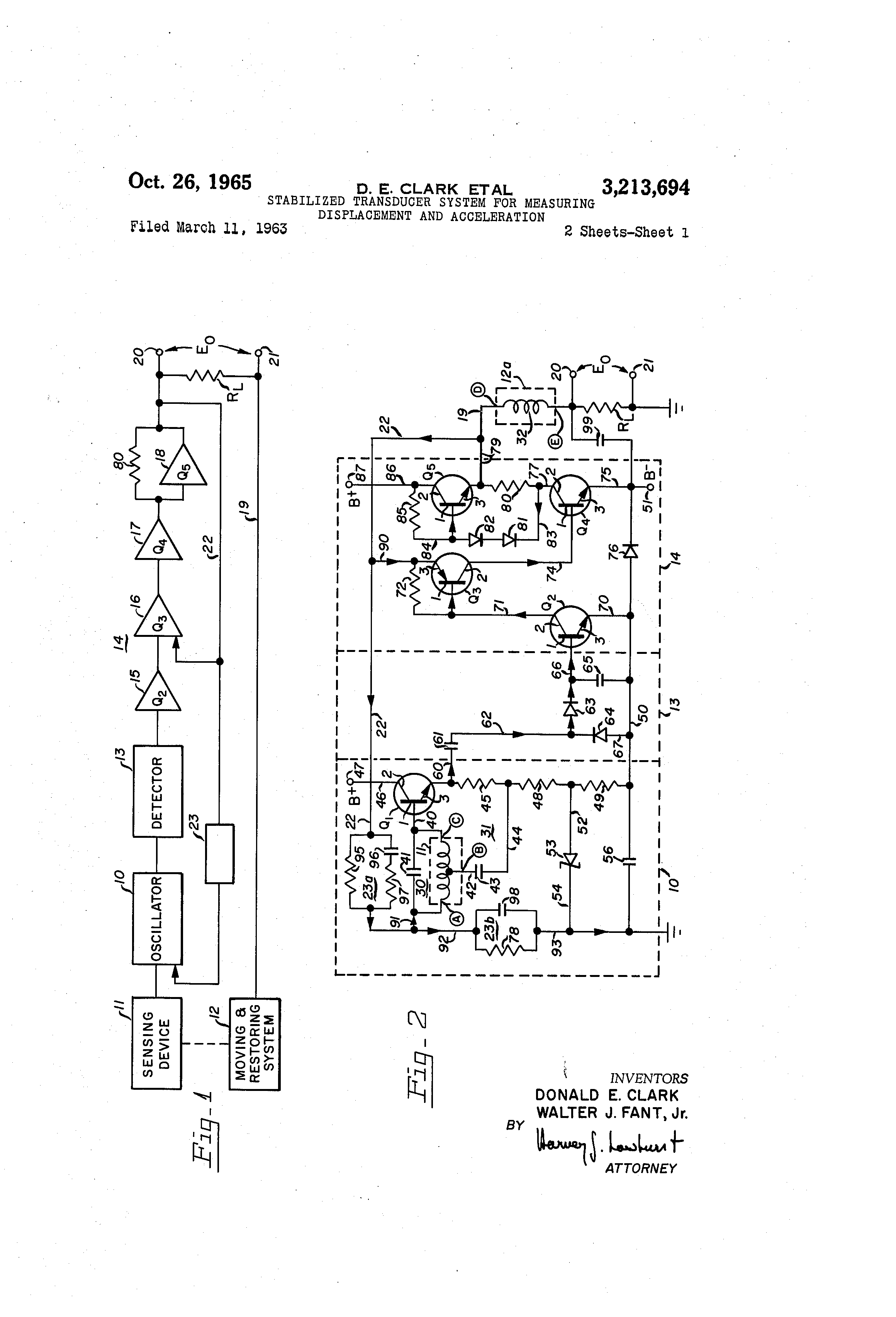 Patent Us3213694 Stabilized Transducer System For Measuring Displacementtypeaccelerometercircuitdiagrampng Drawing