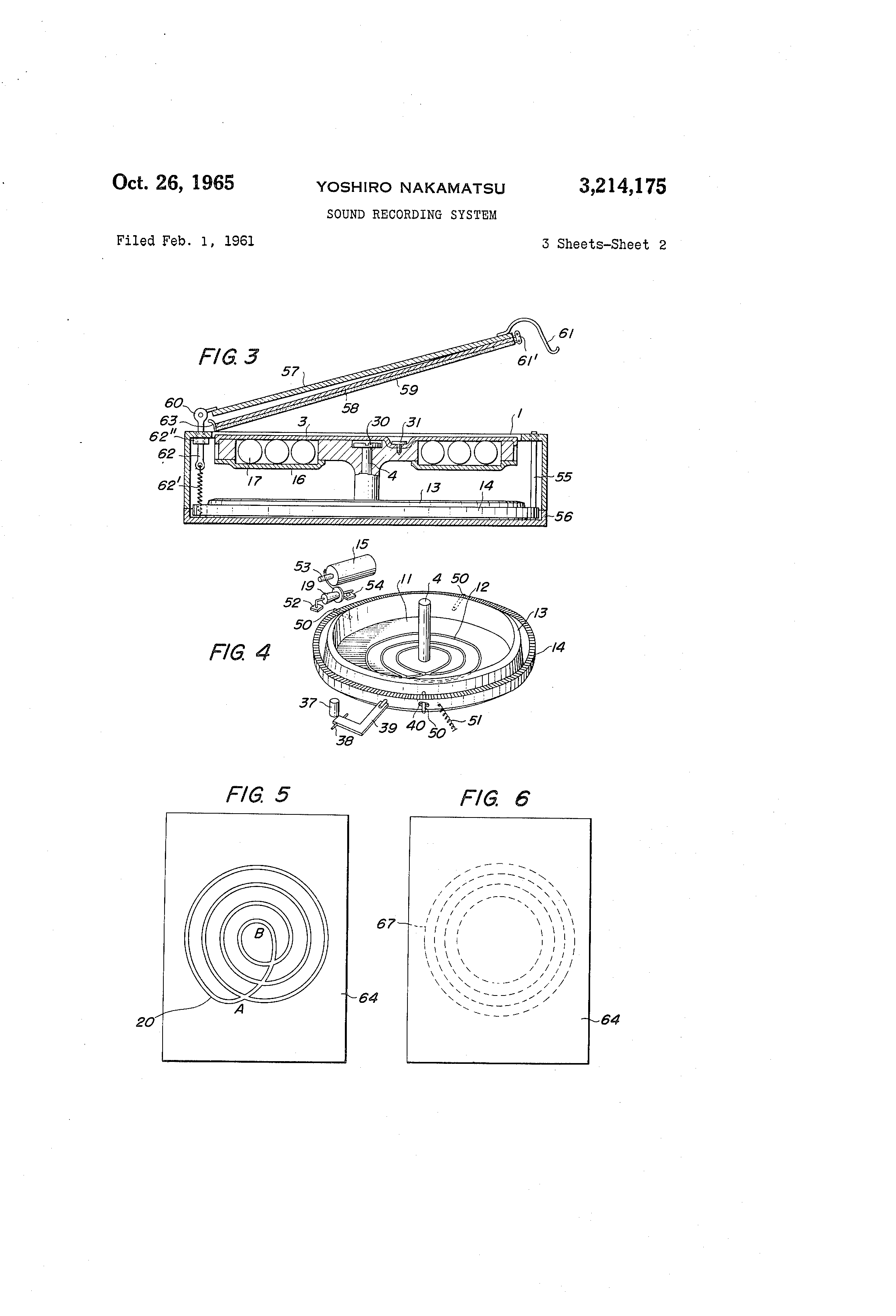 patent us3214175 - sound recording system