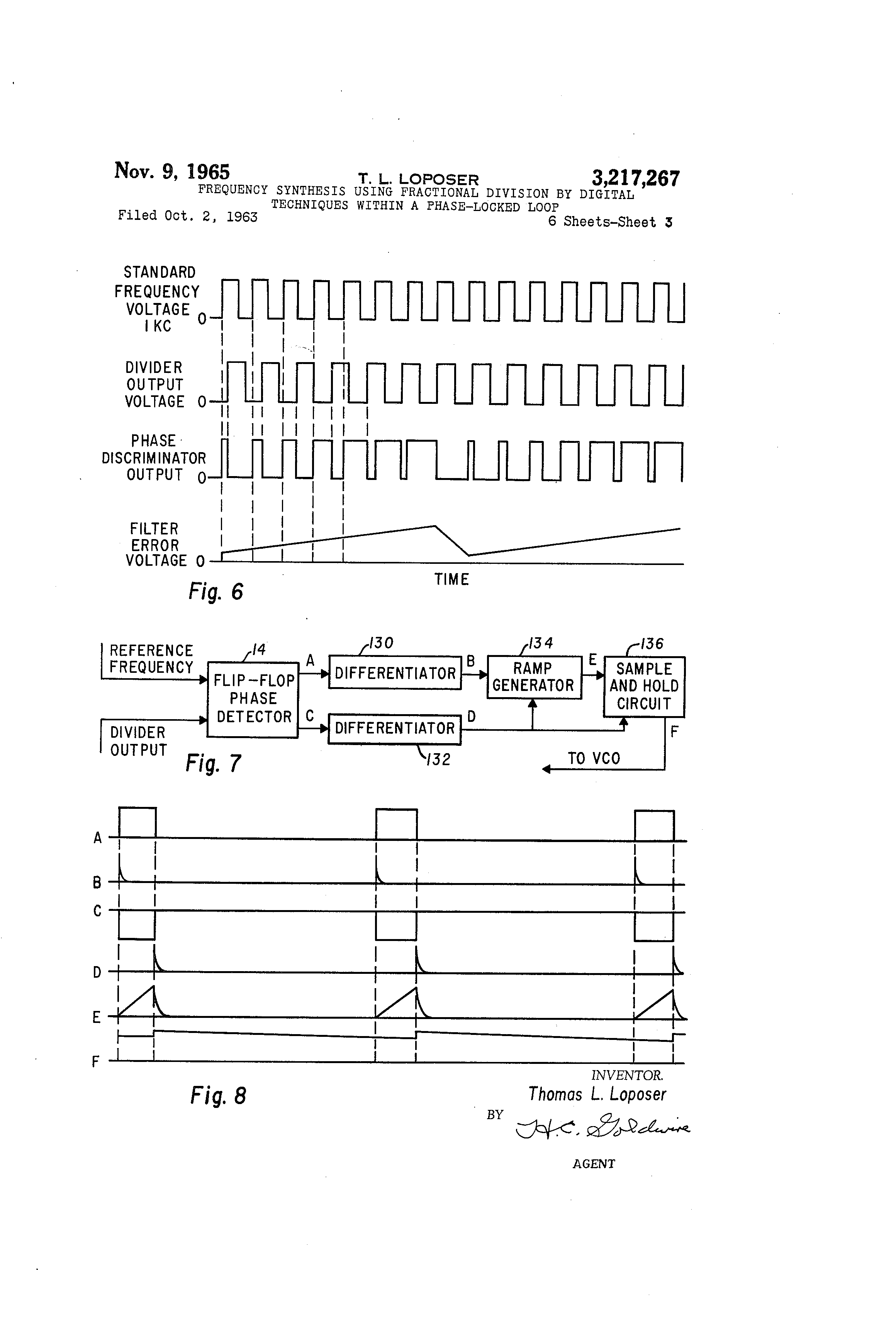 Patent Us3217267 Frequency Synthesis Using Fractional Division By Differentiator Circuit Besides Integrator Lifier Likewise Low Drawing