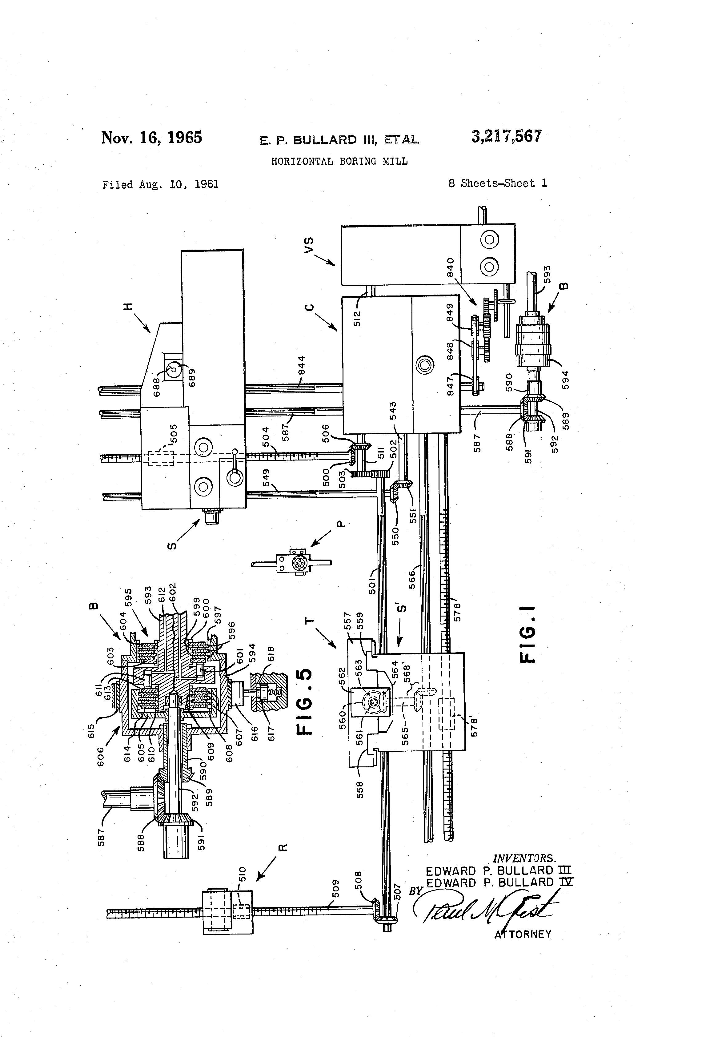 patent us3217567 - horizontal boring mill