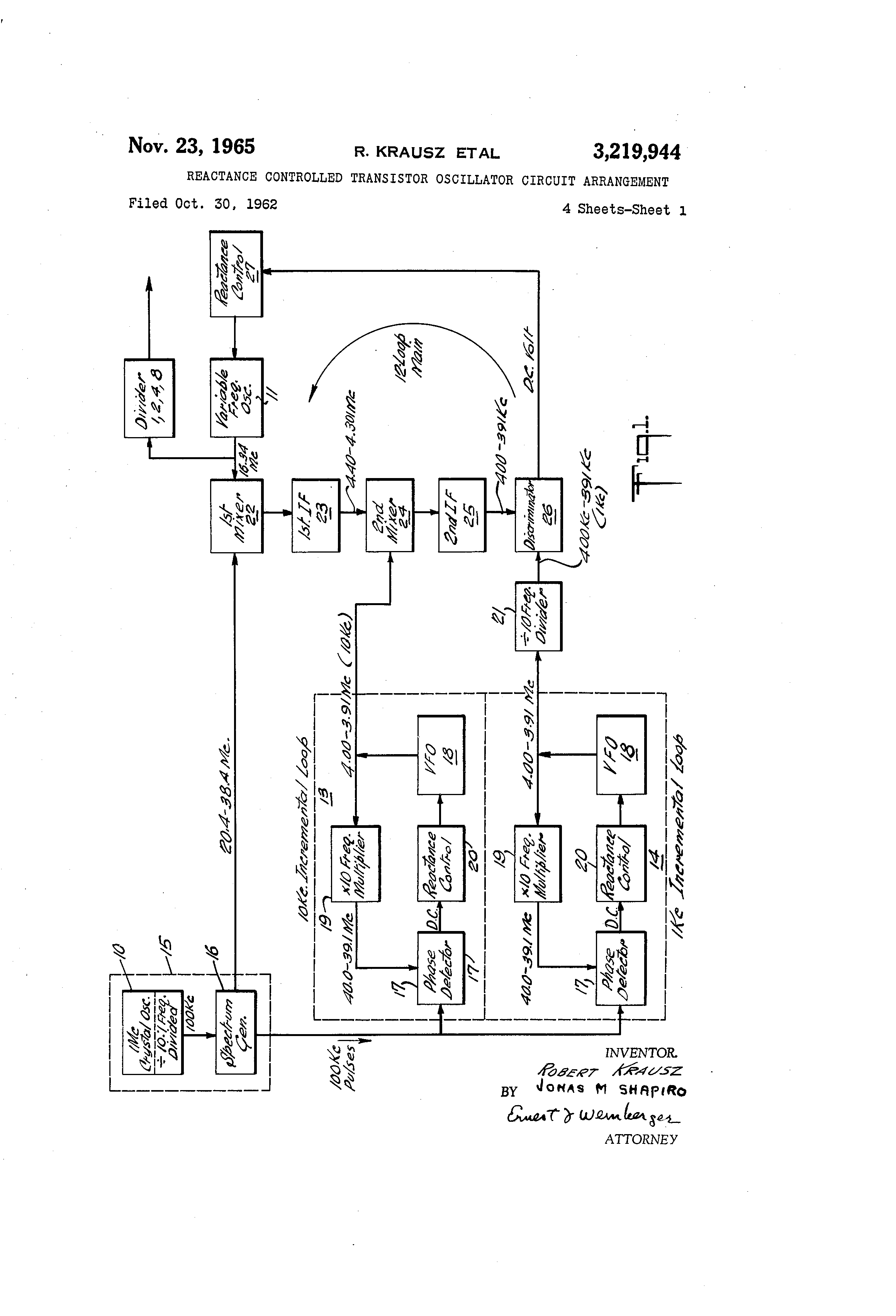 Patent Us3219944 Reactance Controlled Transistor Oscillator Basic Circuit Drawing