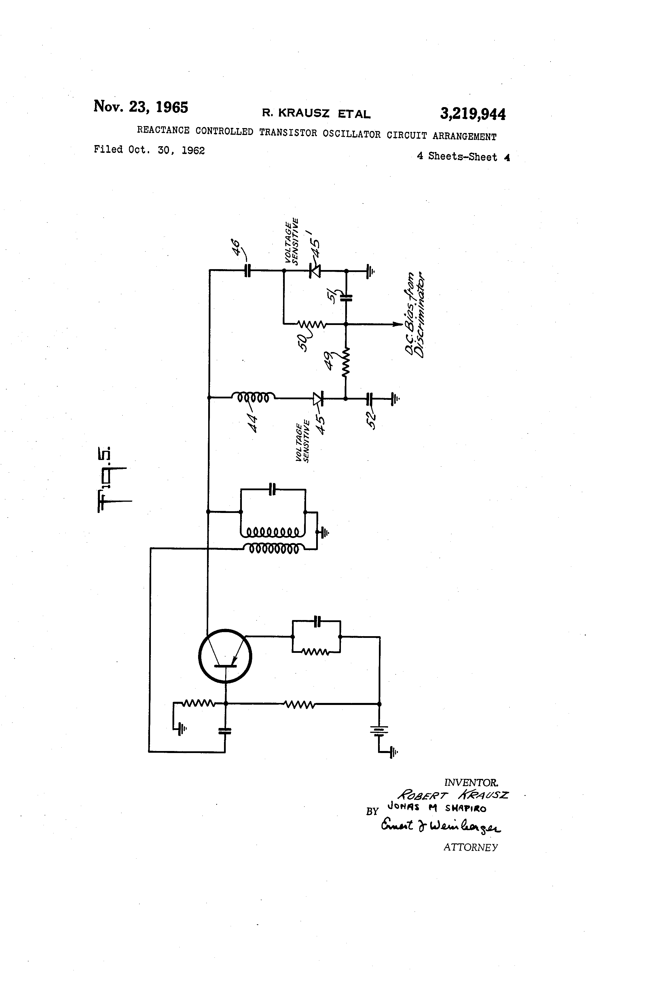 Patent Us3219944 Reactance Controlled Transistor Oscillator Reverse Bias Circuit Drawing