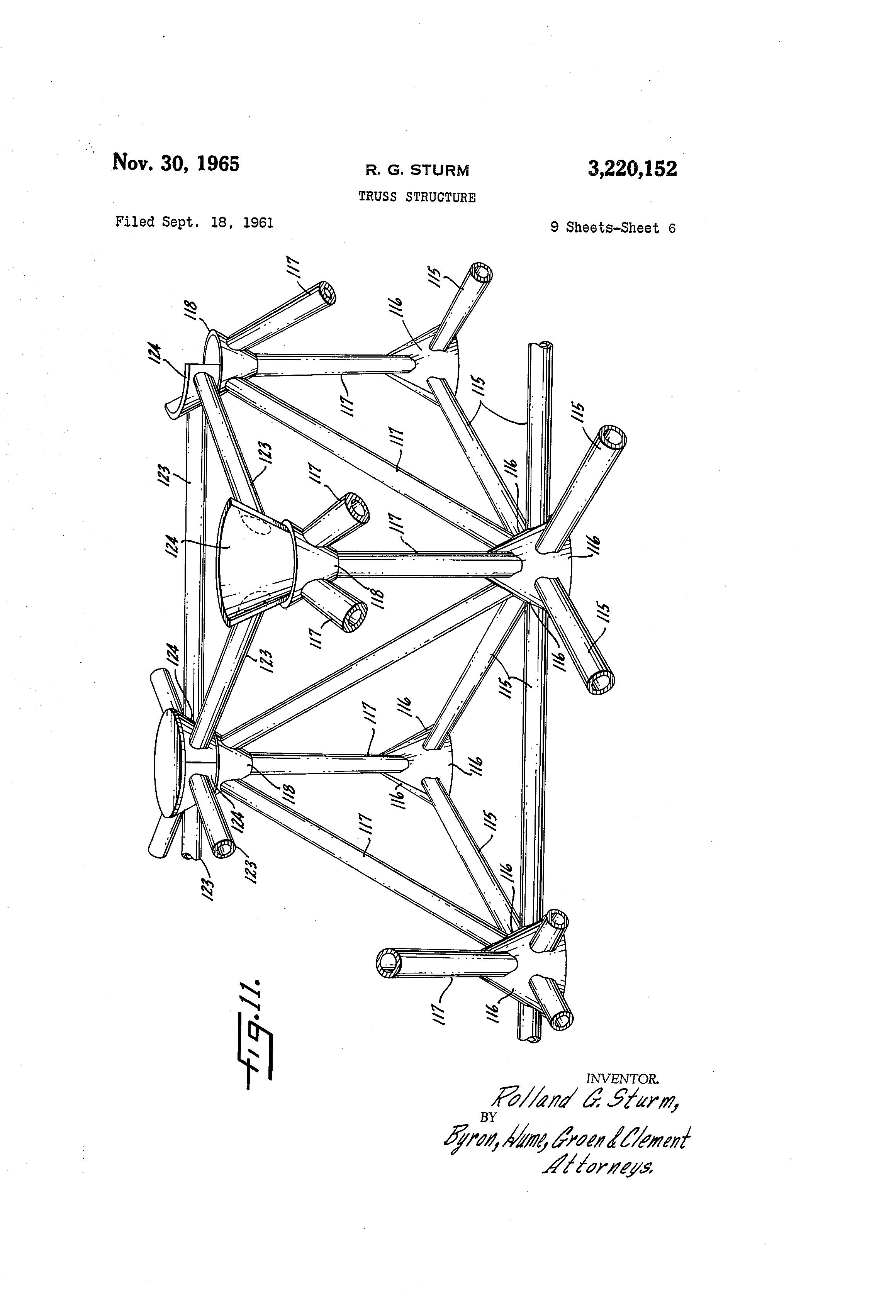 patent us3220152 - truss structure