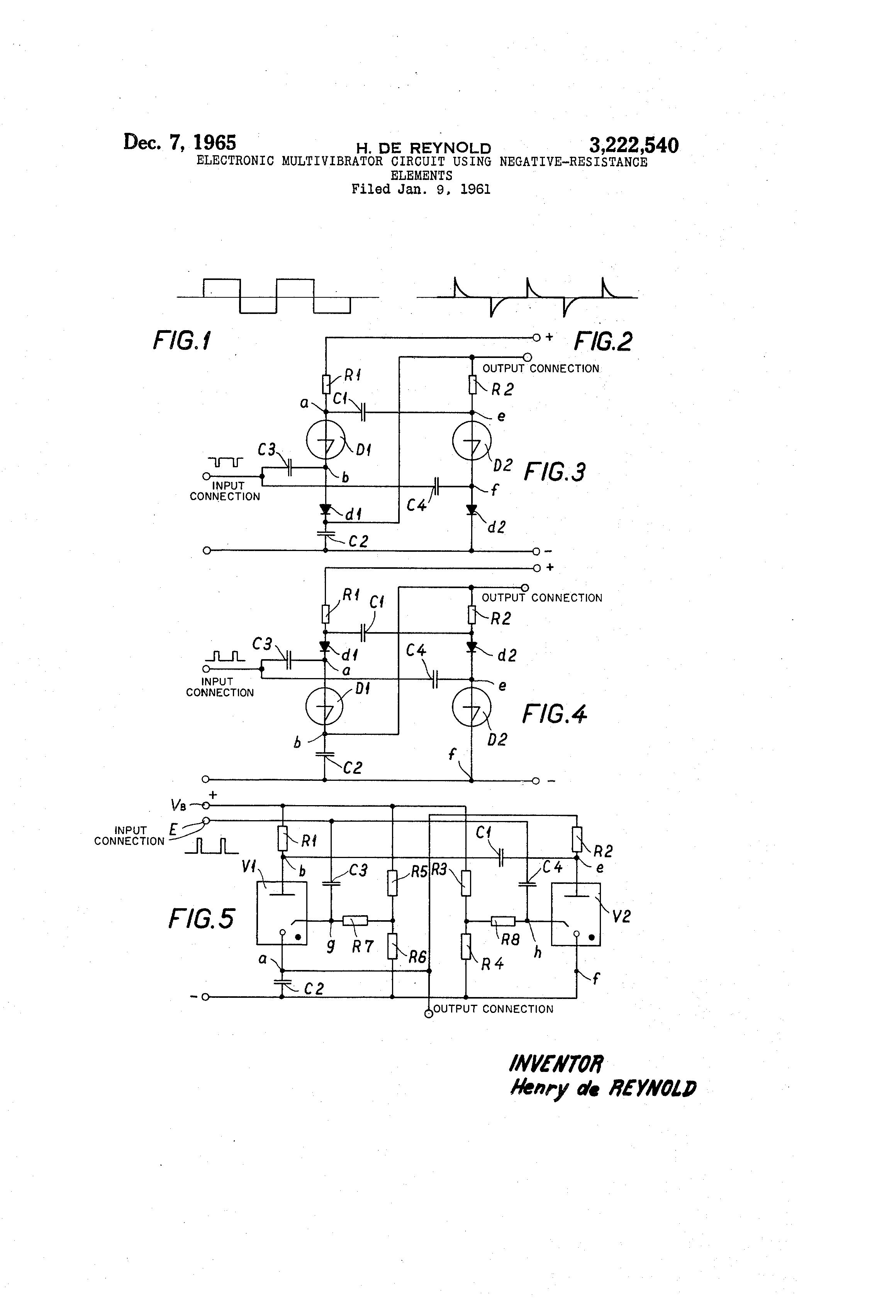 Patent Us3222540 Electronic Multivibrator Circuit Using Negative Monostable Drawing