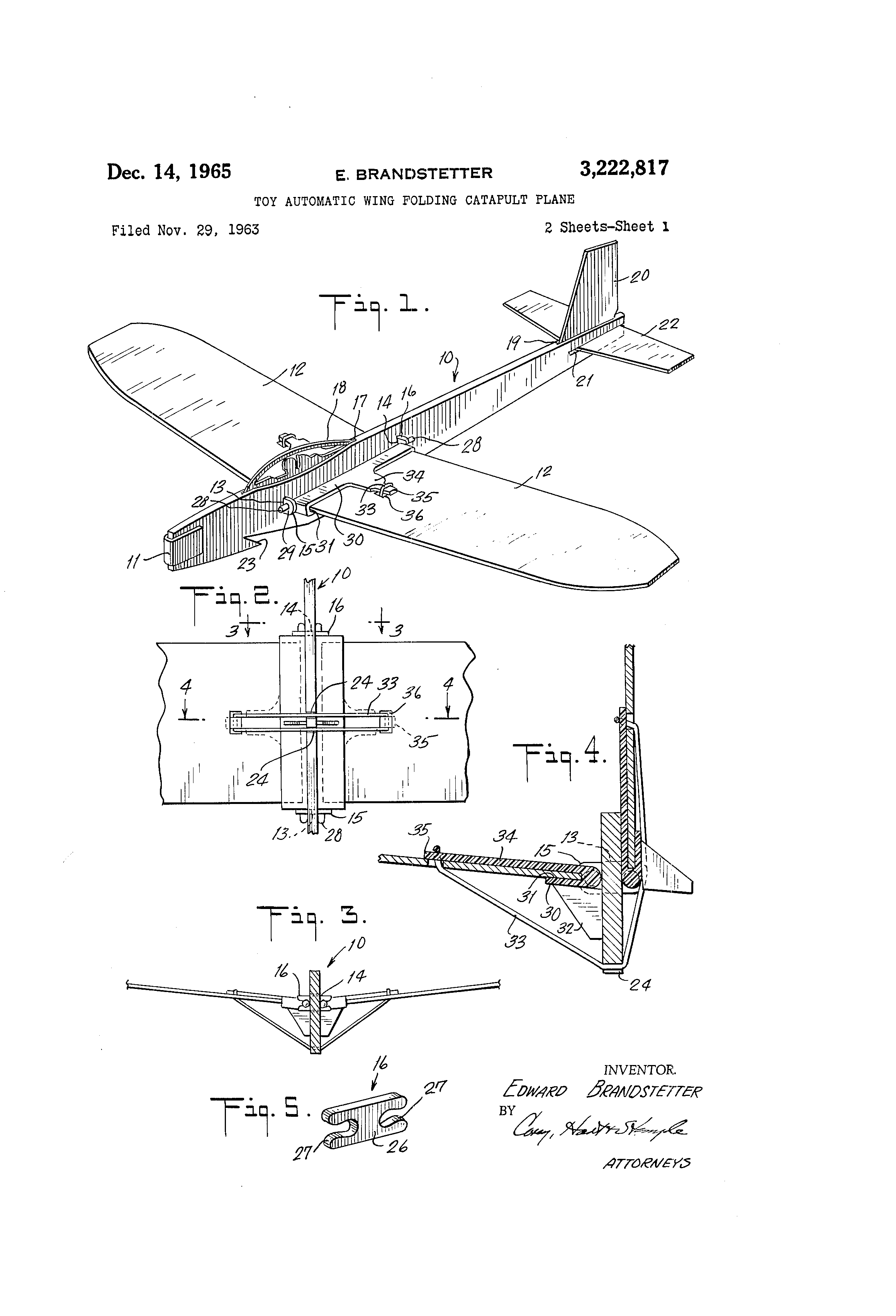 Patent Us3222817 Toy Automatic Wing Folding Catapult Plane Diagram Drawing