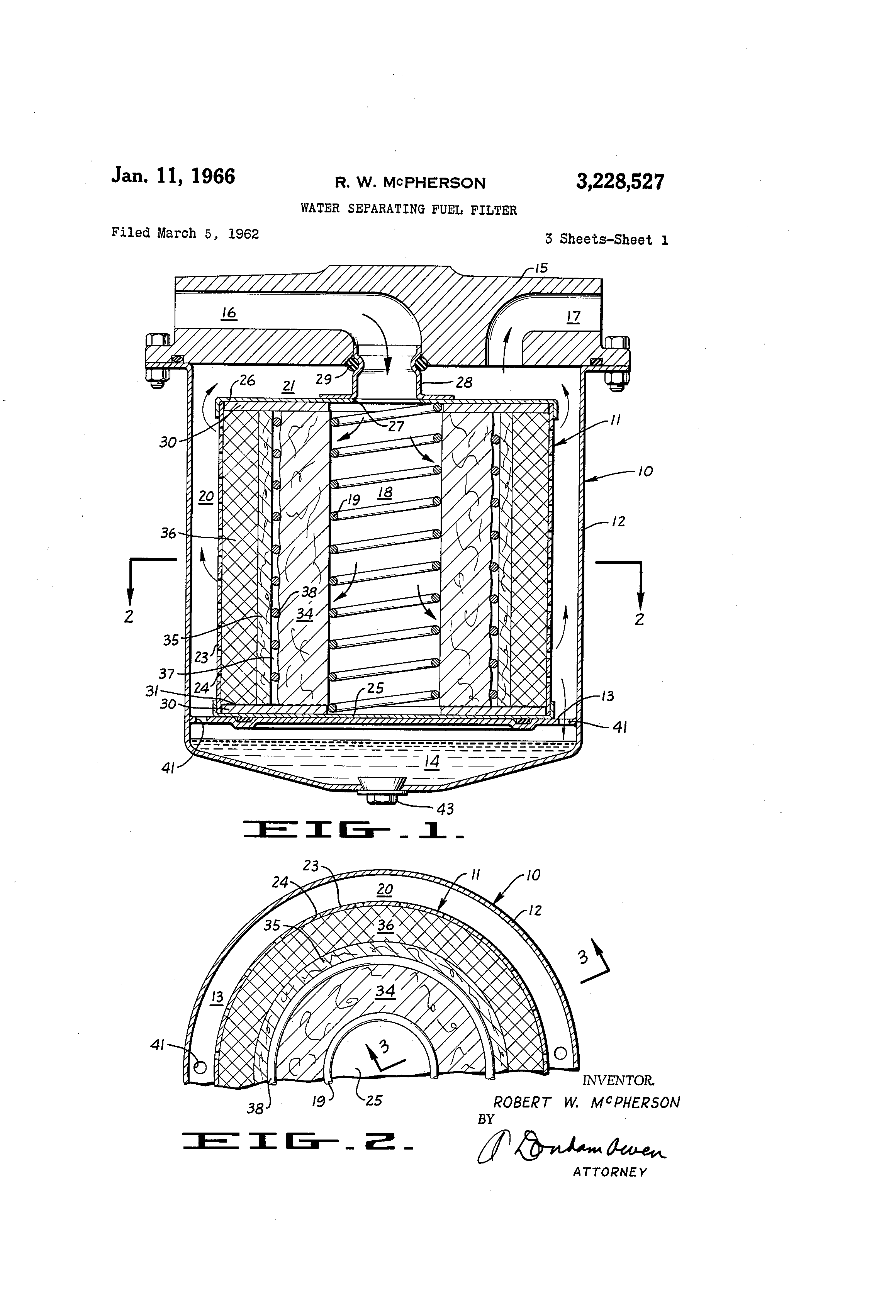 Patent Us3228527 Water Separating Fuel Filter Google Patents Bendix Filters Drawing
