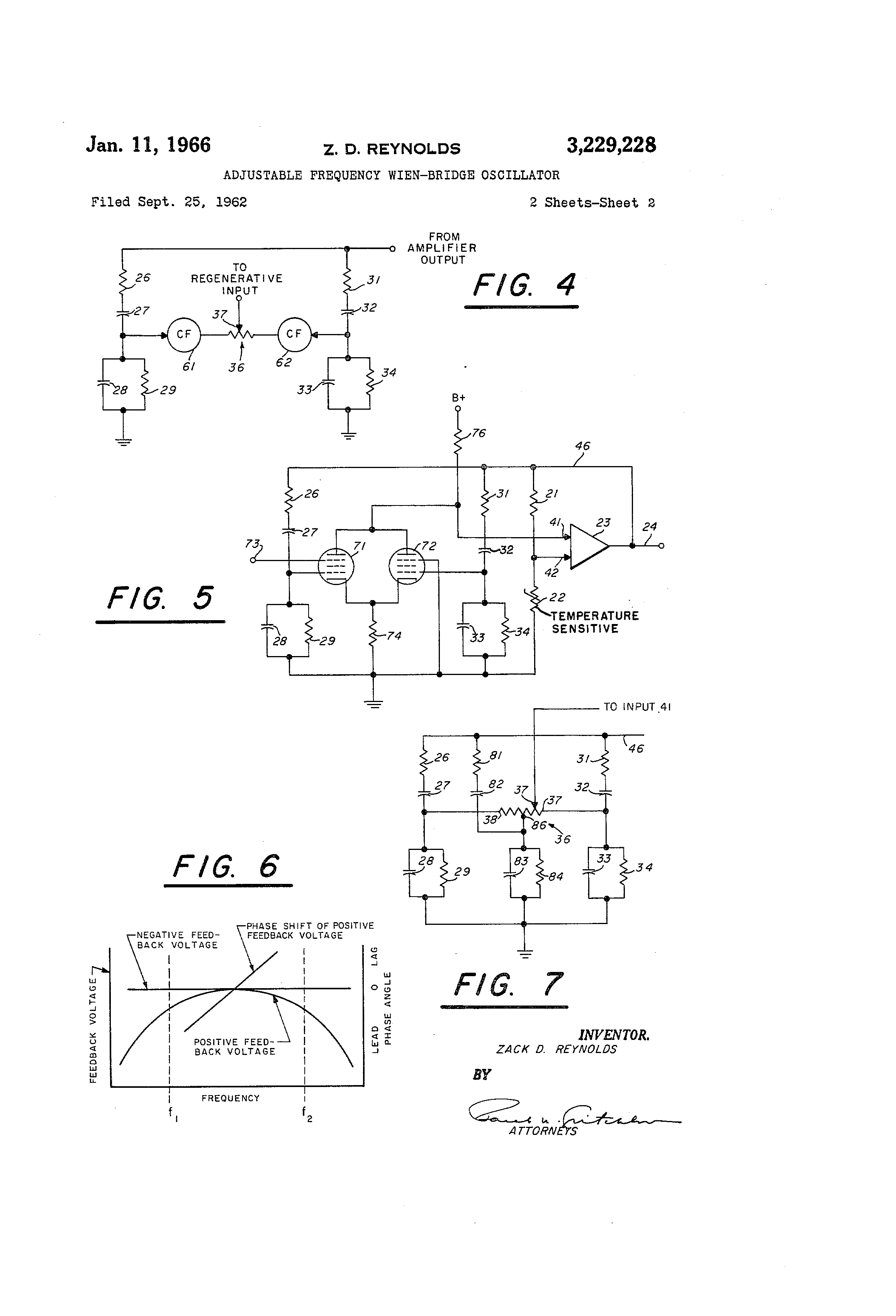 Patent Us3229228 Adjustable Frequency Wien Bridge Oscillator Rc And Circuit Oscillatorcircuit Drawing