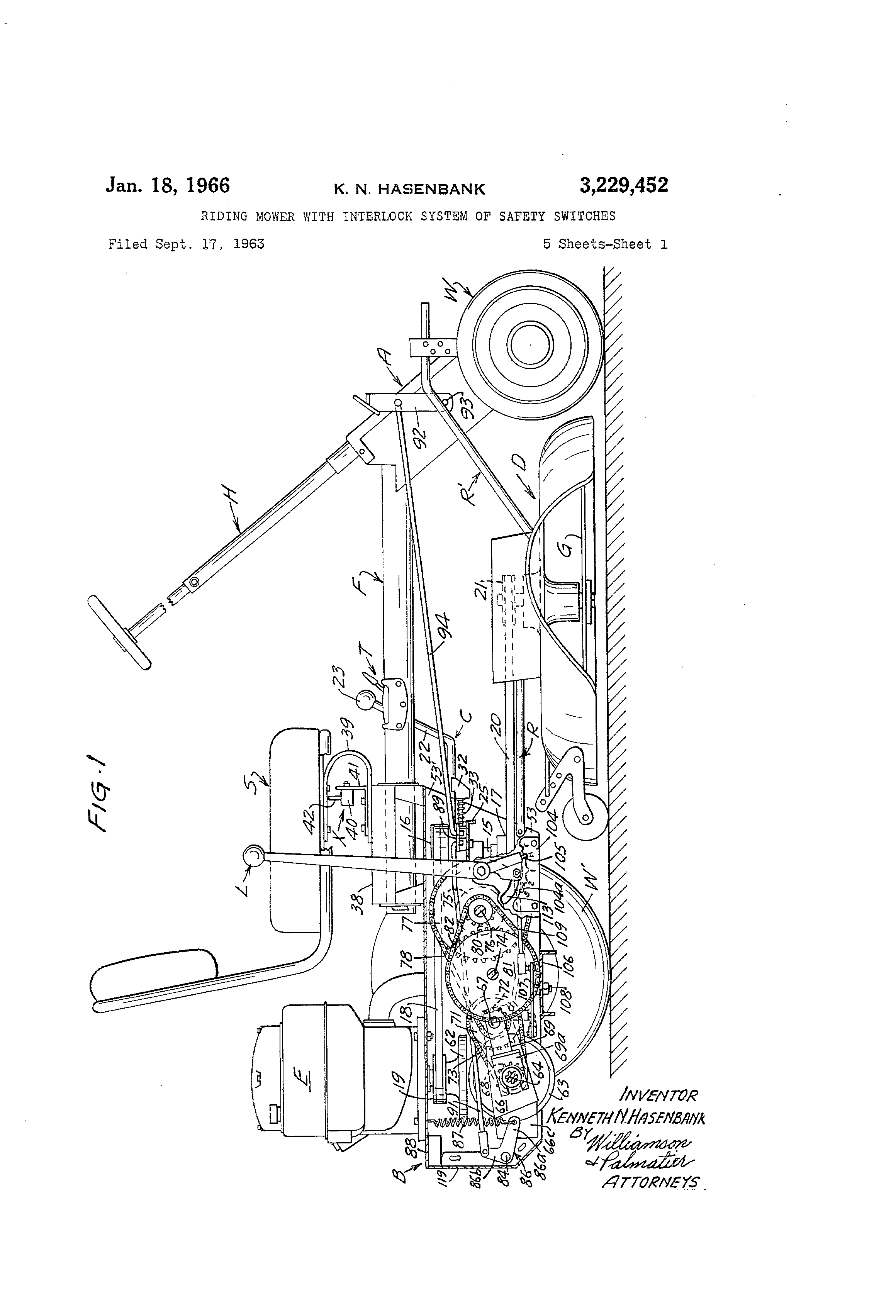 patent us3229452 mower with interlock system of safety switches patents