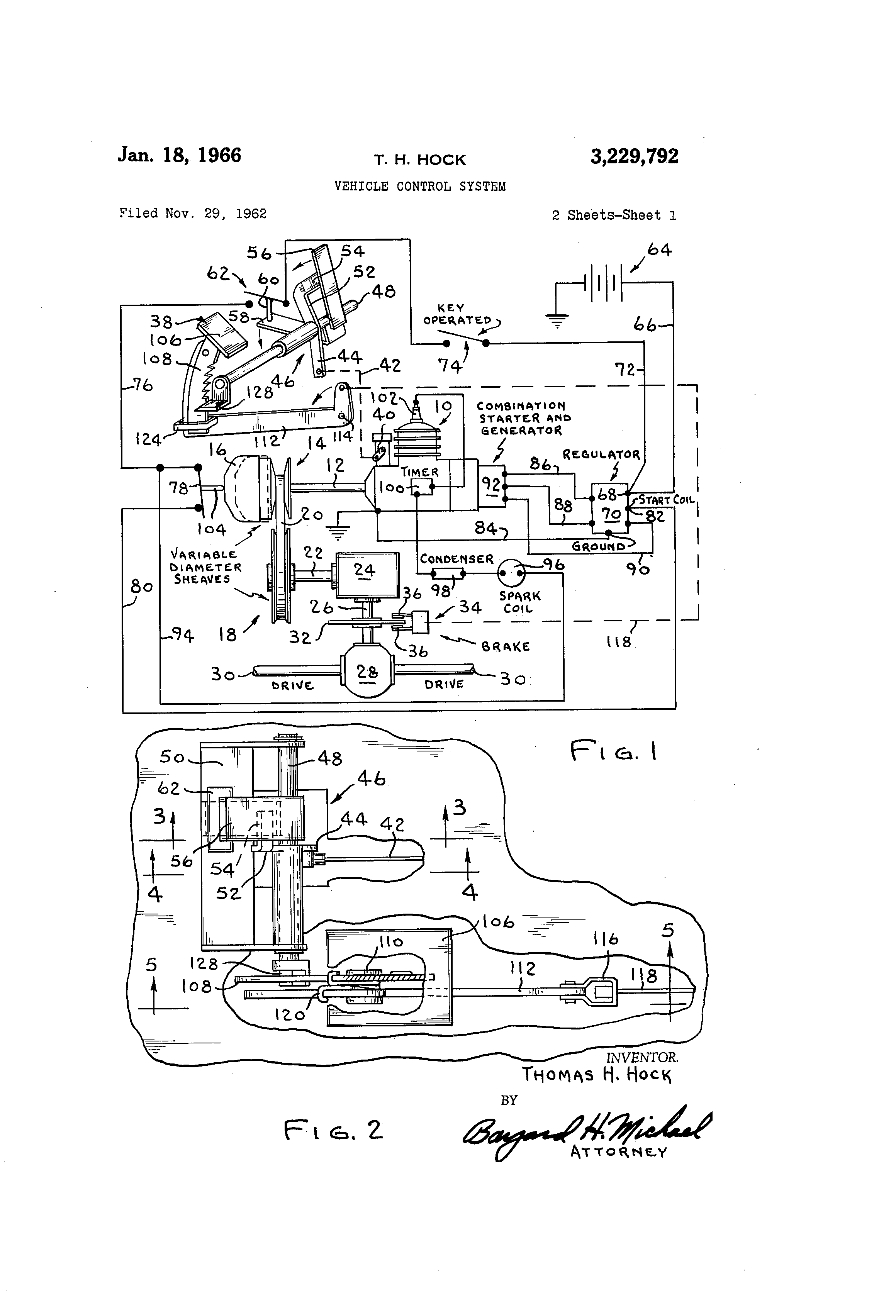 Patent Us3229792 Vehicle Control System Google Patents Basic Ignition Wiring Diagram For Harley Davidson Drawing
