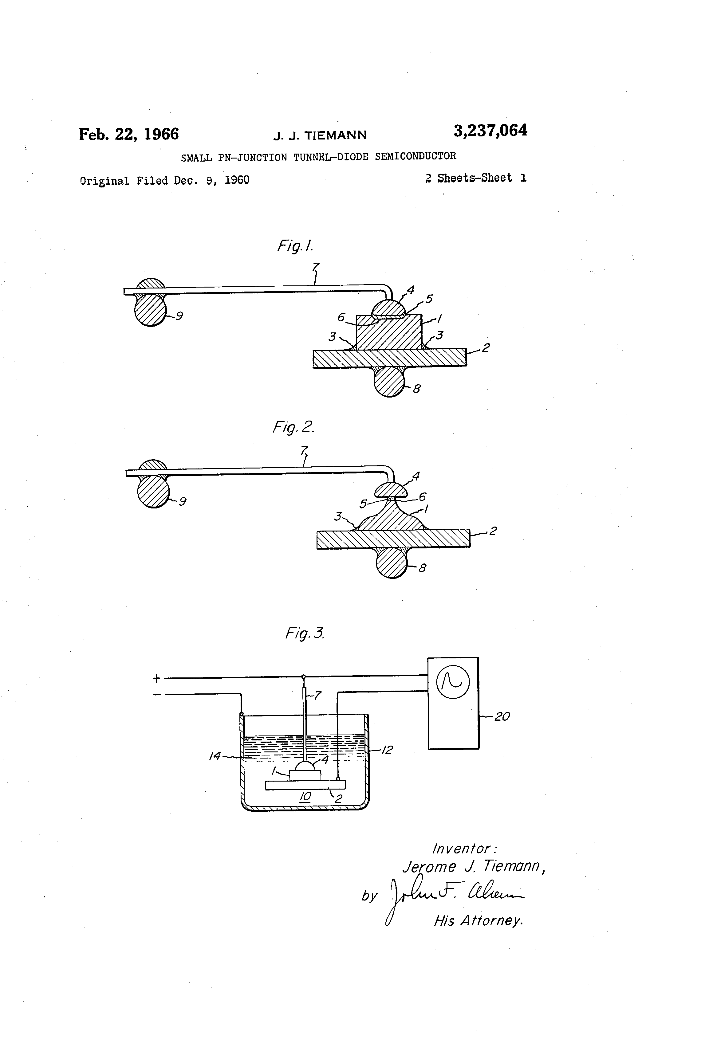 Brevet Us3237064 Small Pn Junction Tunnel Diode Semiconductor And Its Characteristics Patent Drawing