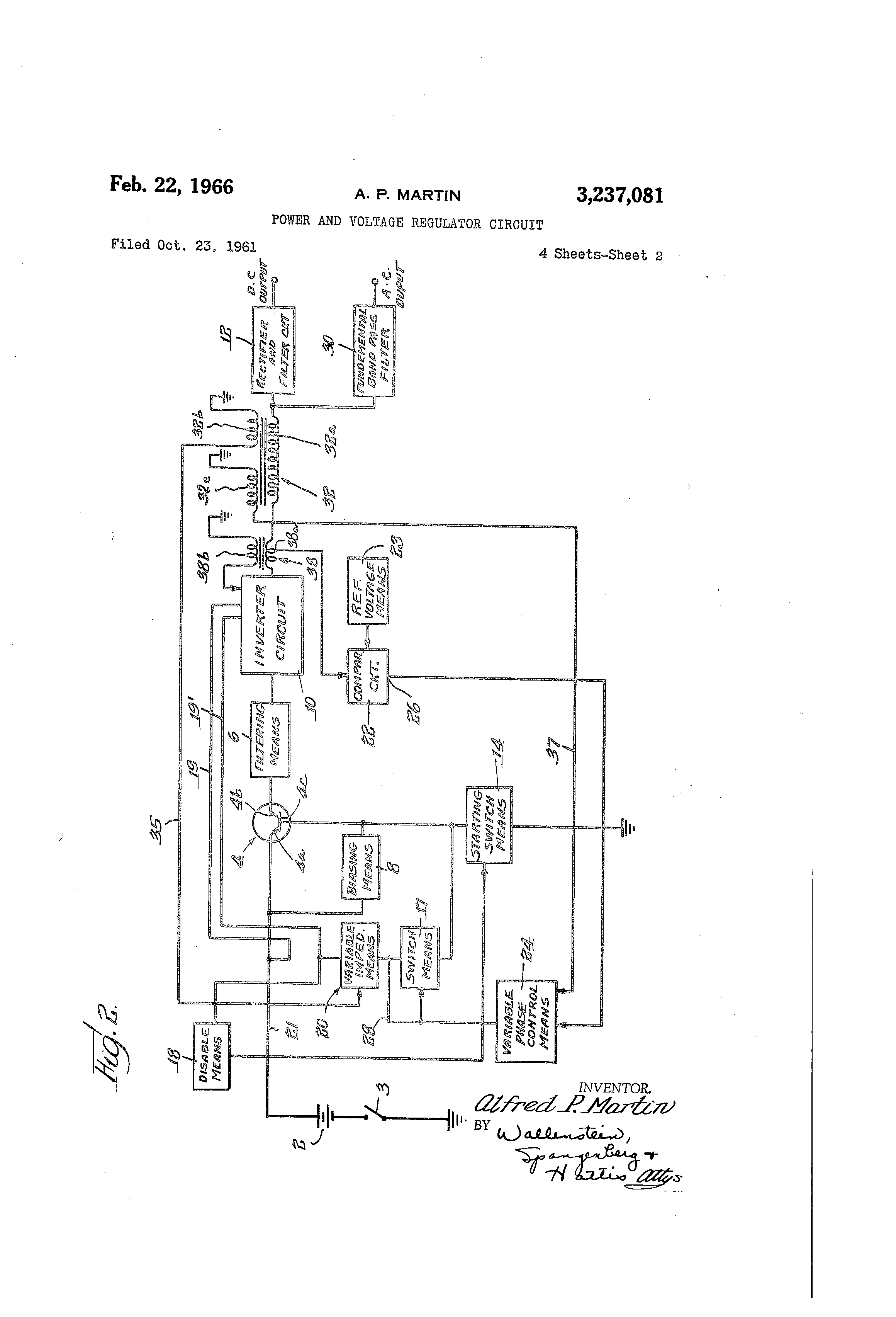 Patent Us3237081 Power And Voltage Regulator Circuit Google Patents Alternate Positivevoltage Switching Diagram Drawing