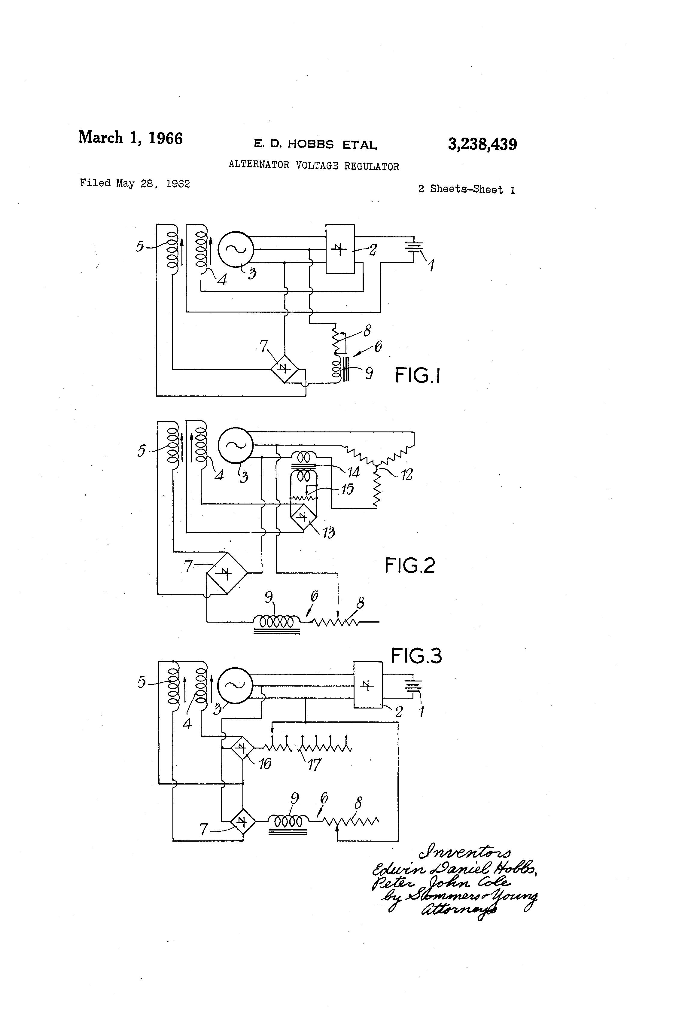 Patent Us3238439 Alternator Voltage Regulator Google Patents For Threephase Automotive Circuit System Drawing