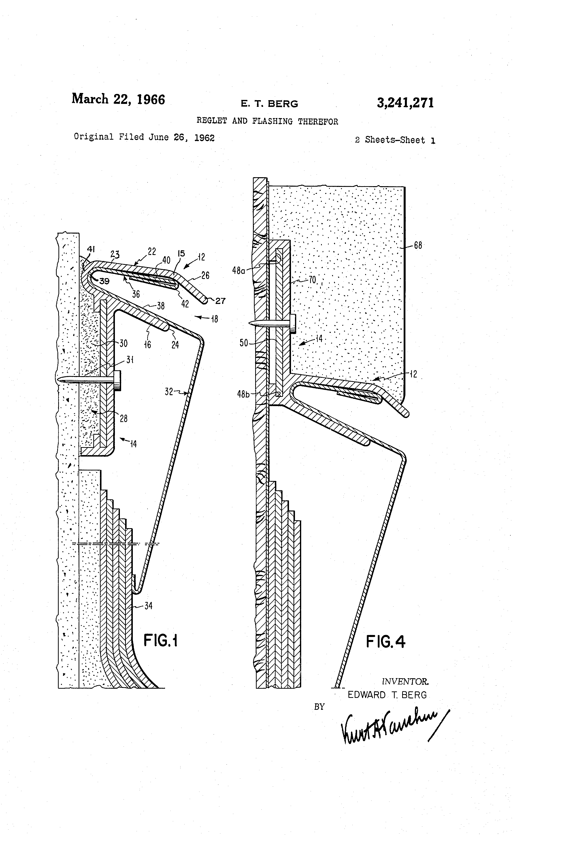 patent us3241271 - reglet and flashing therefor