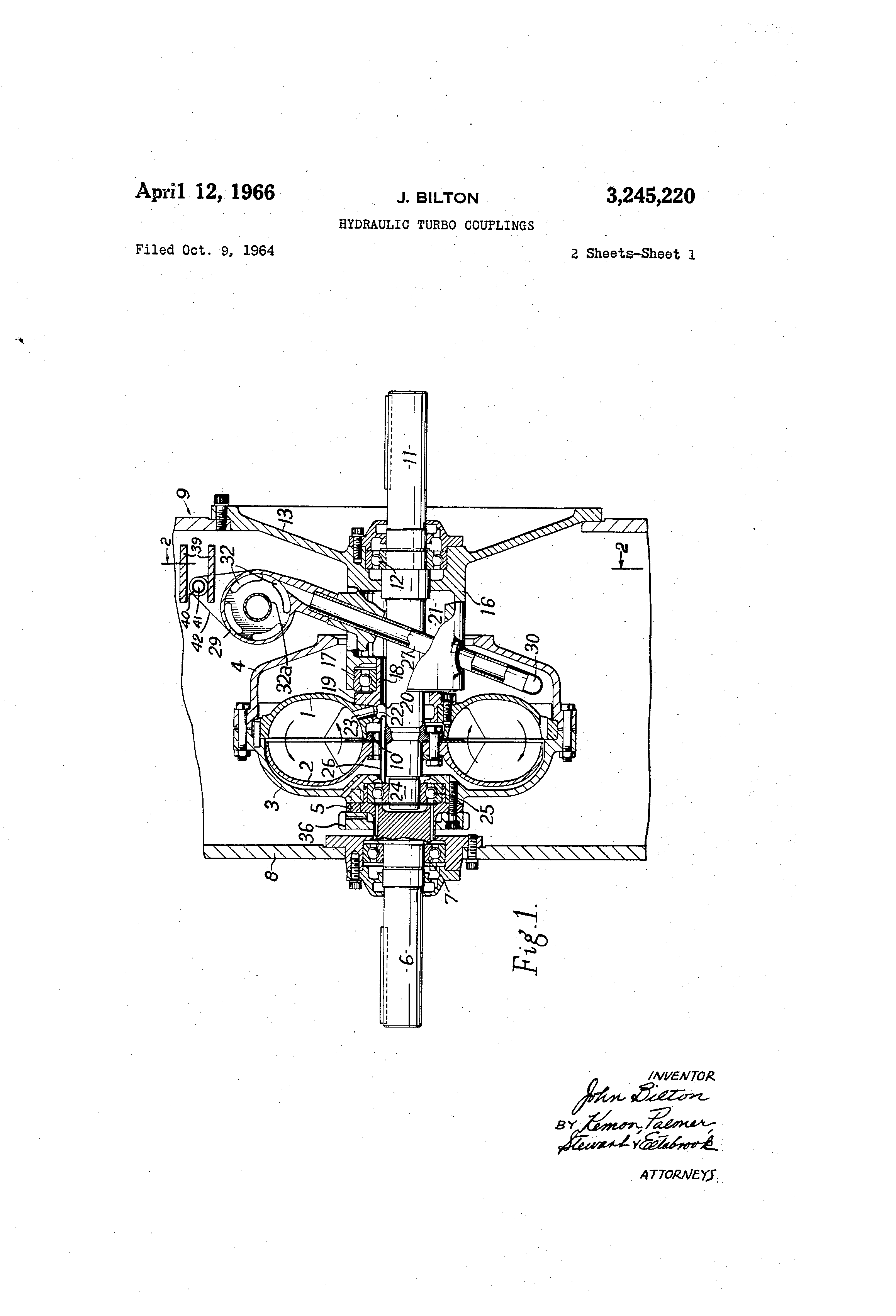Patent Us3245220 Hydraulic Turbo Couplings Google Patents On This Turbocharger Diagram You Can See How The Impeller Connects Drawing