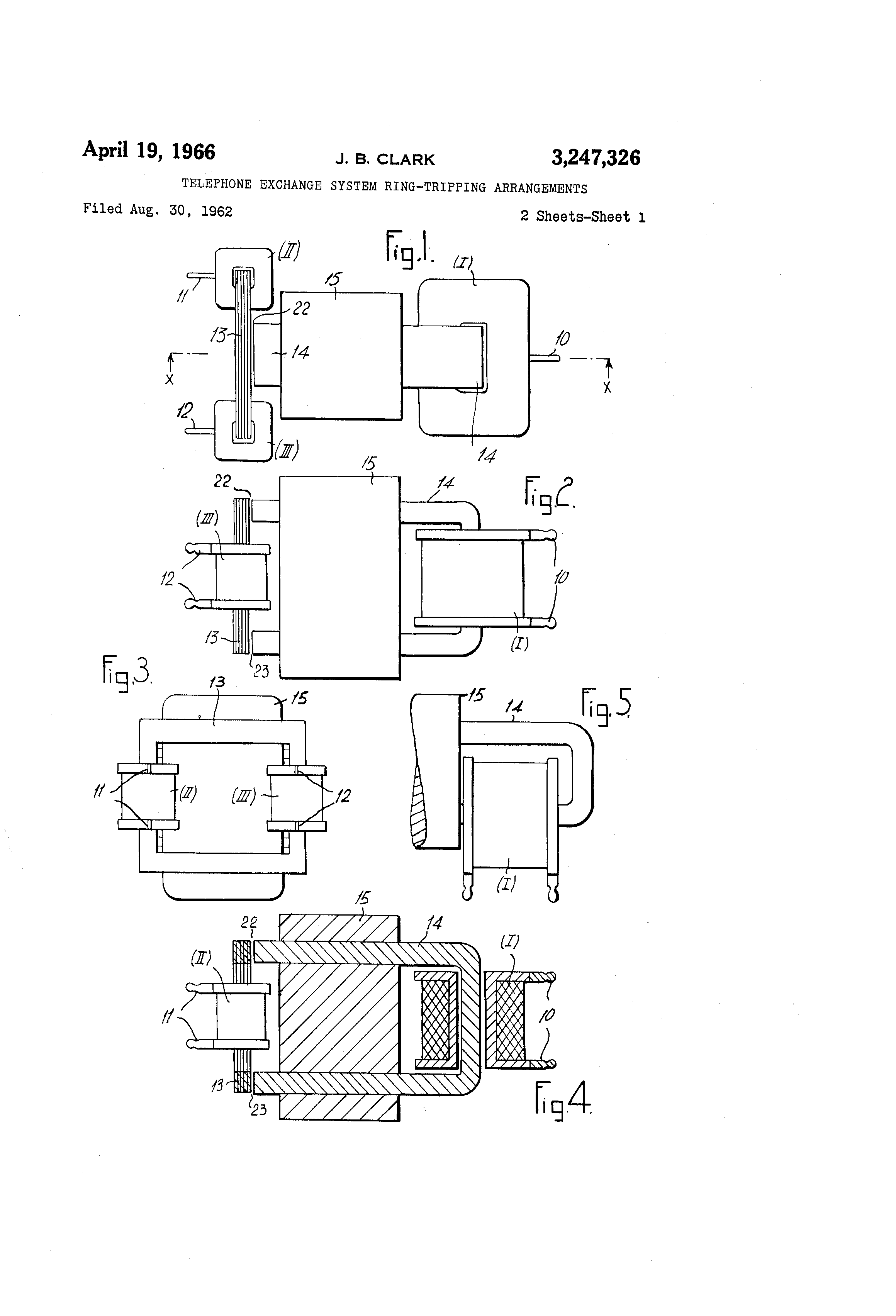 patent us3247326 - telephone exchange system ringtripping arrangements