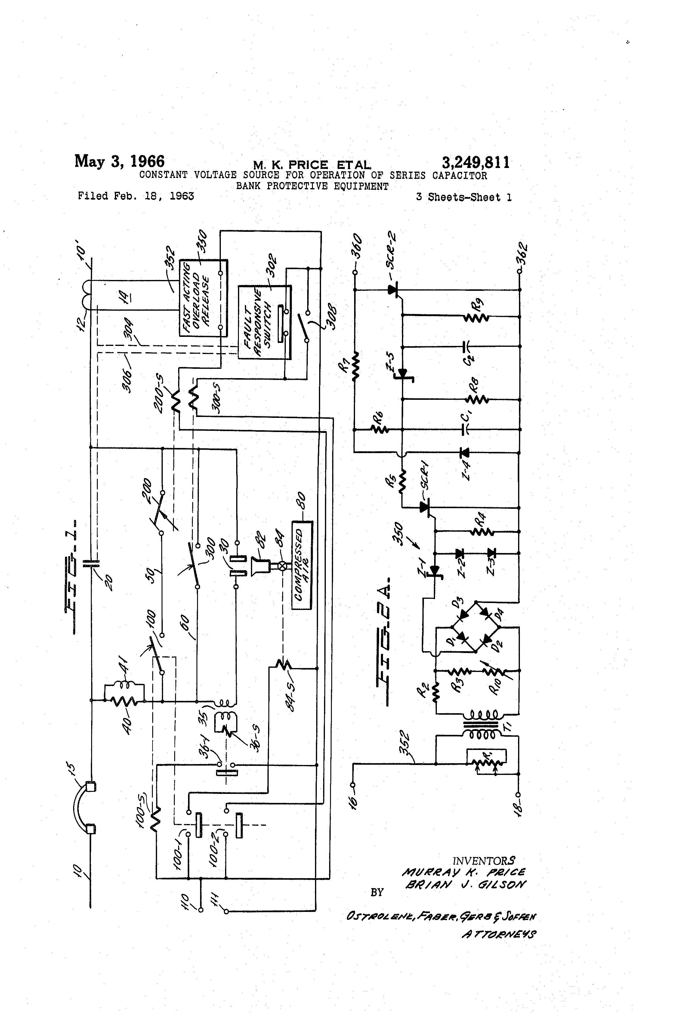 Patent Us3249811 Constant Voltage Source For Operation Of Series Show The Schematic Diagram Capacitor And Shunt Drawing