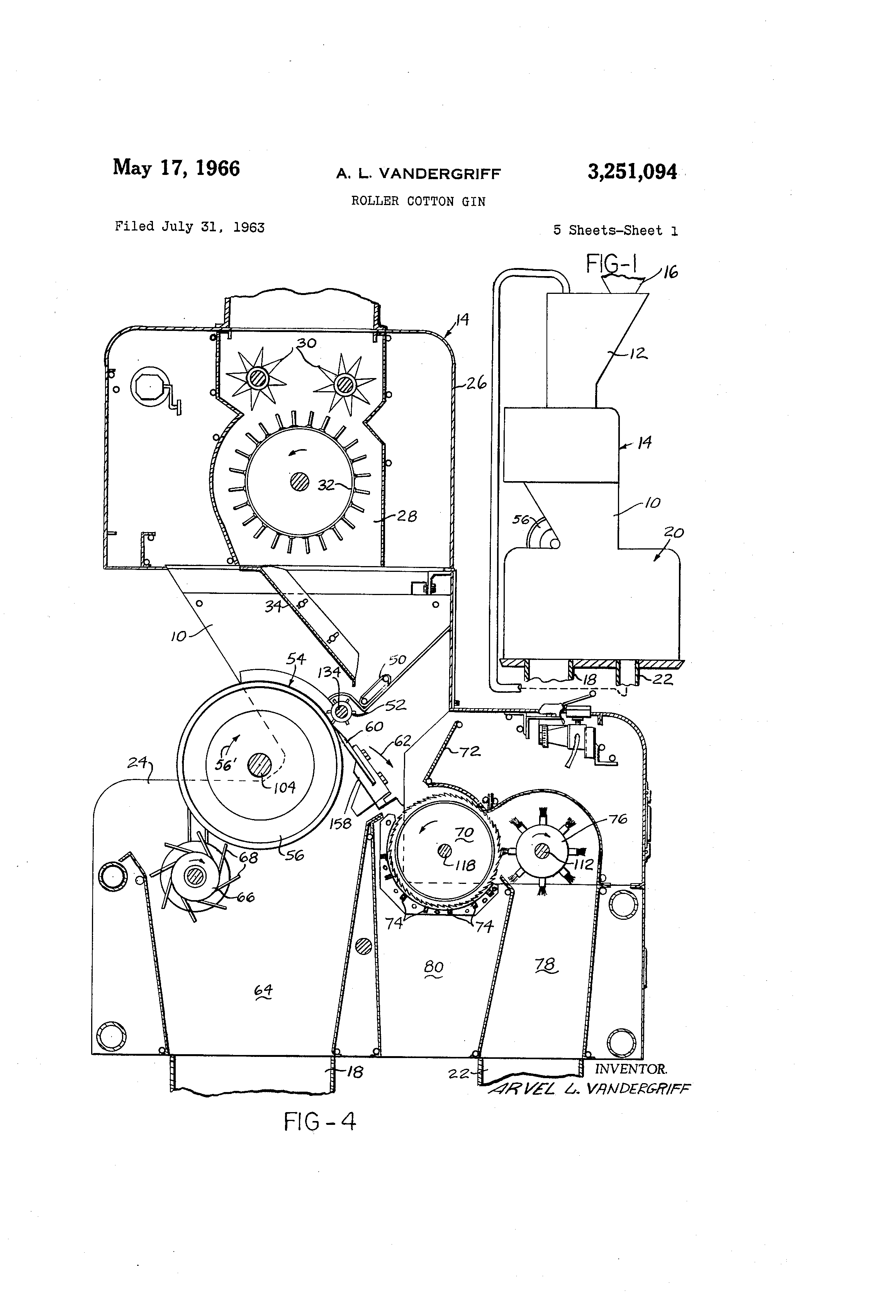 patent us3251094 - roller cotton gin