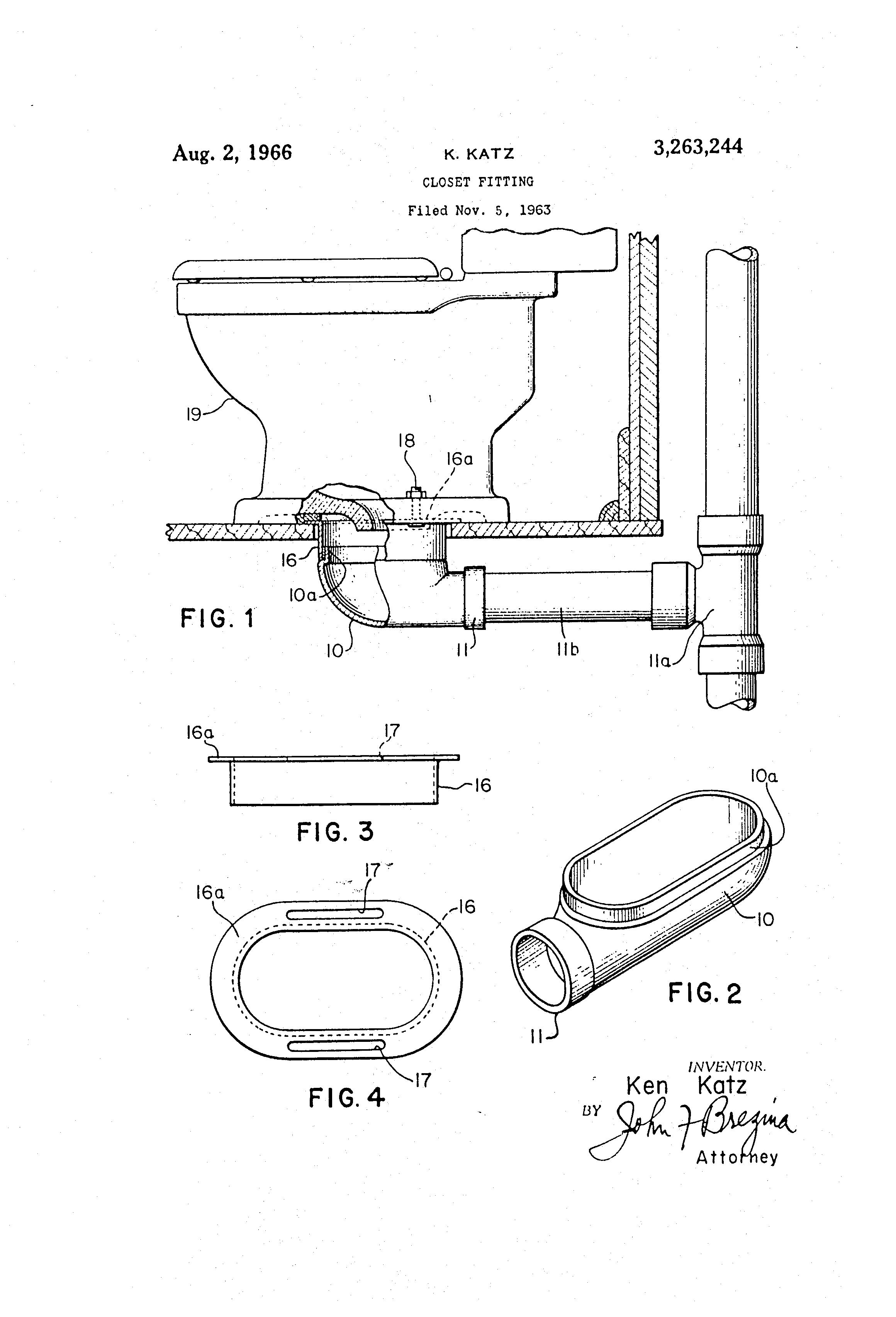 Patent Us3263244 Closet Fitting Google Patents