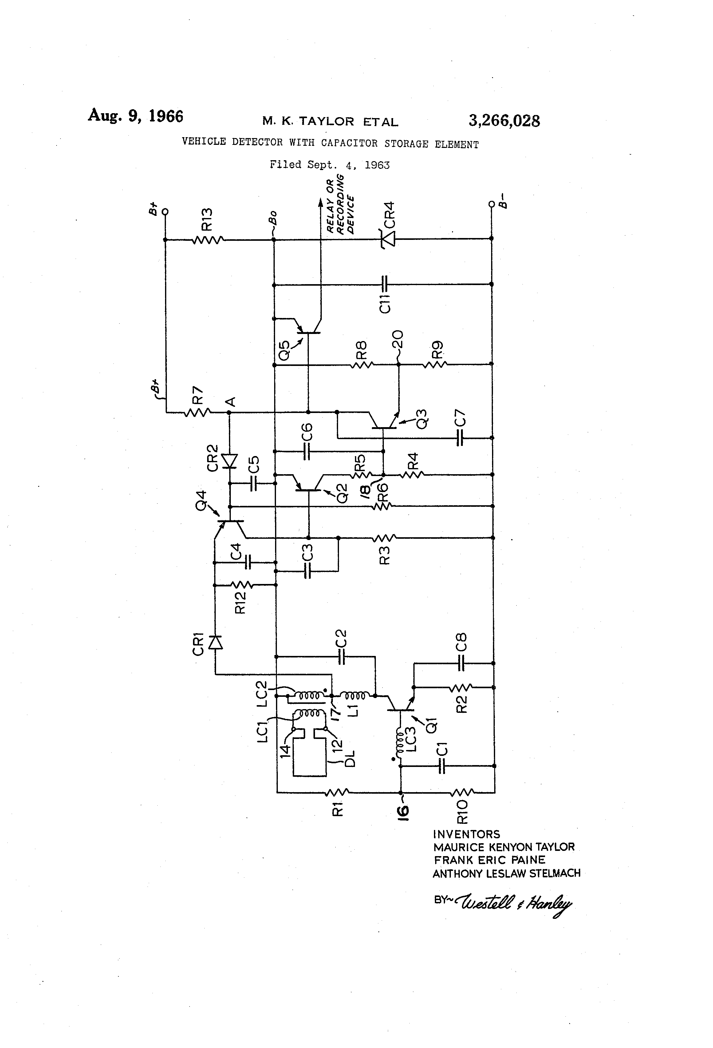 Patent Us3266028 Vehicle Detector With Capacitor Storage Element Loop Relay Drawing