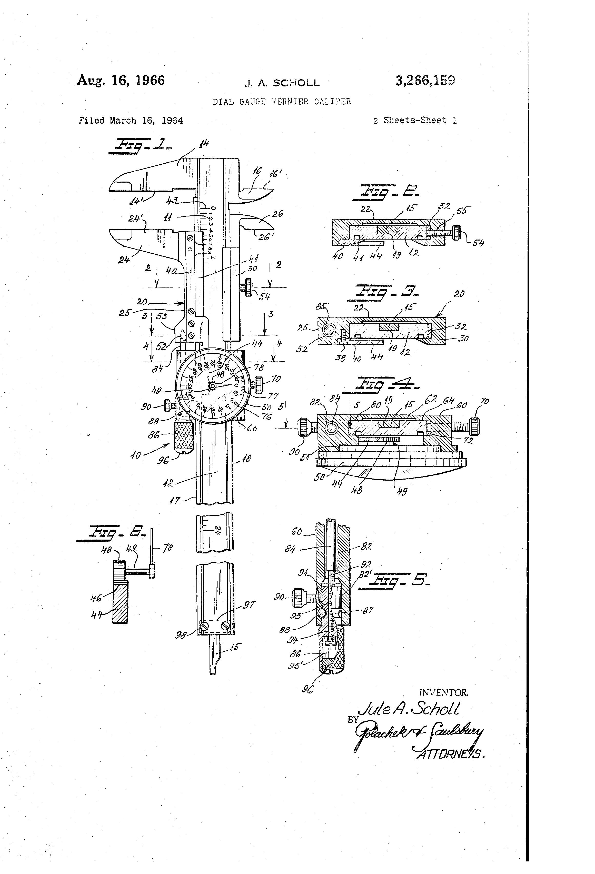 patent us3266159 - dial gauge vernier caliper
