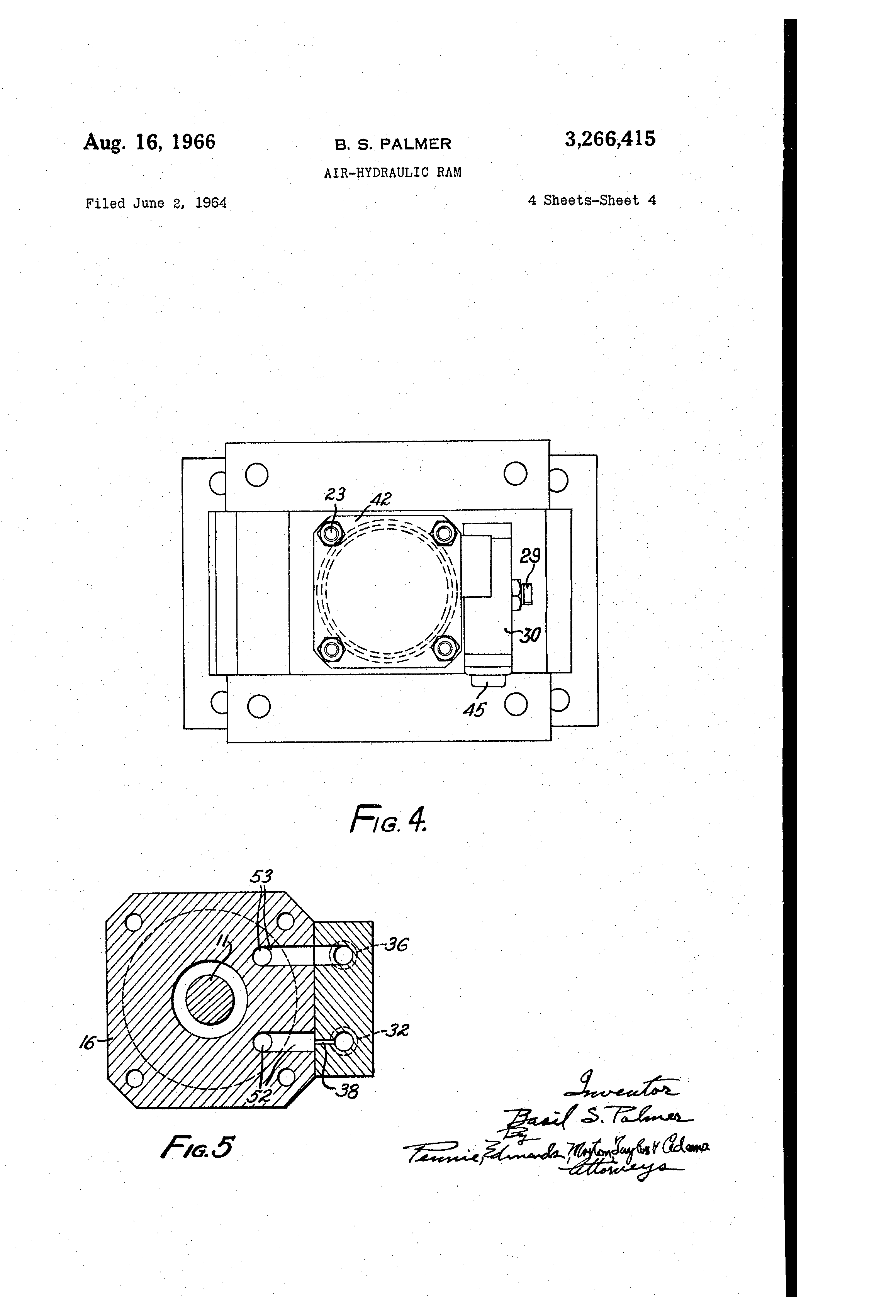 Patent Us3266415 Air Hydraulic Ram Google Patents Diagram Drawing