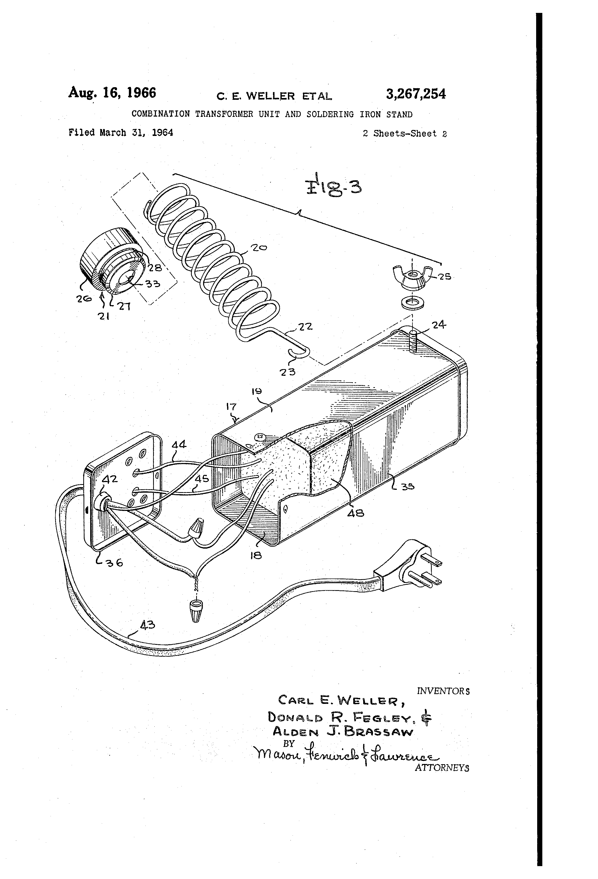 Patent Us3267254 Bination Transformer Unit And Soldering Iron. Patent Drawing. Wiring. Soldering Pencil Wiring Diagram At Scoala.co