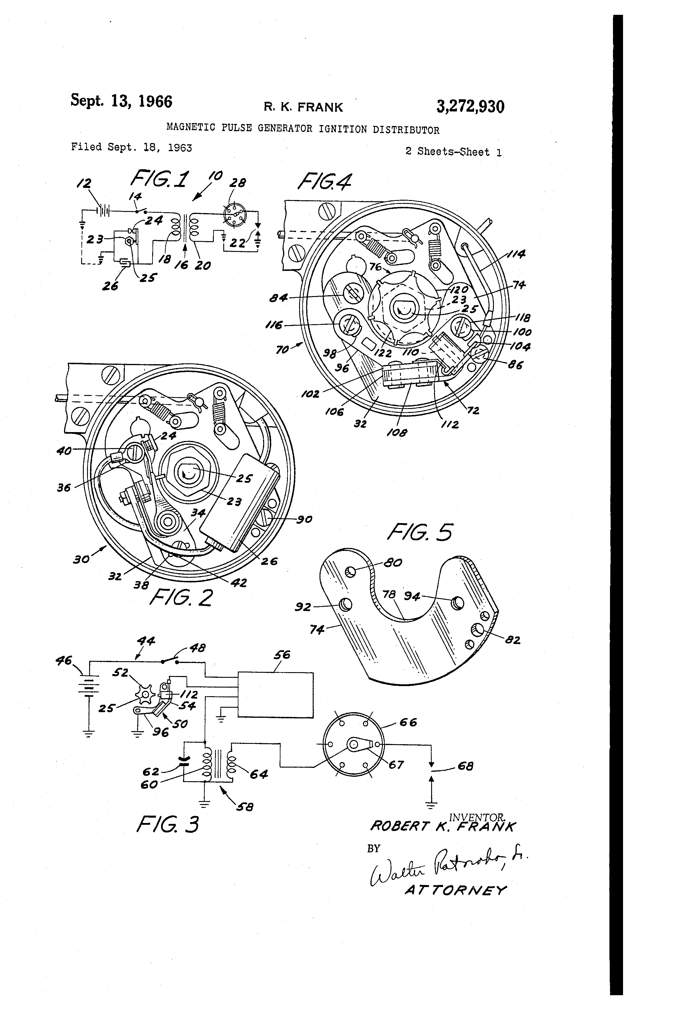 patent us3272930 - magnetic pulse generator ignition distributor