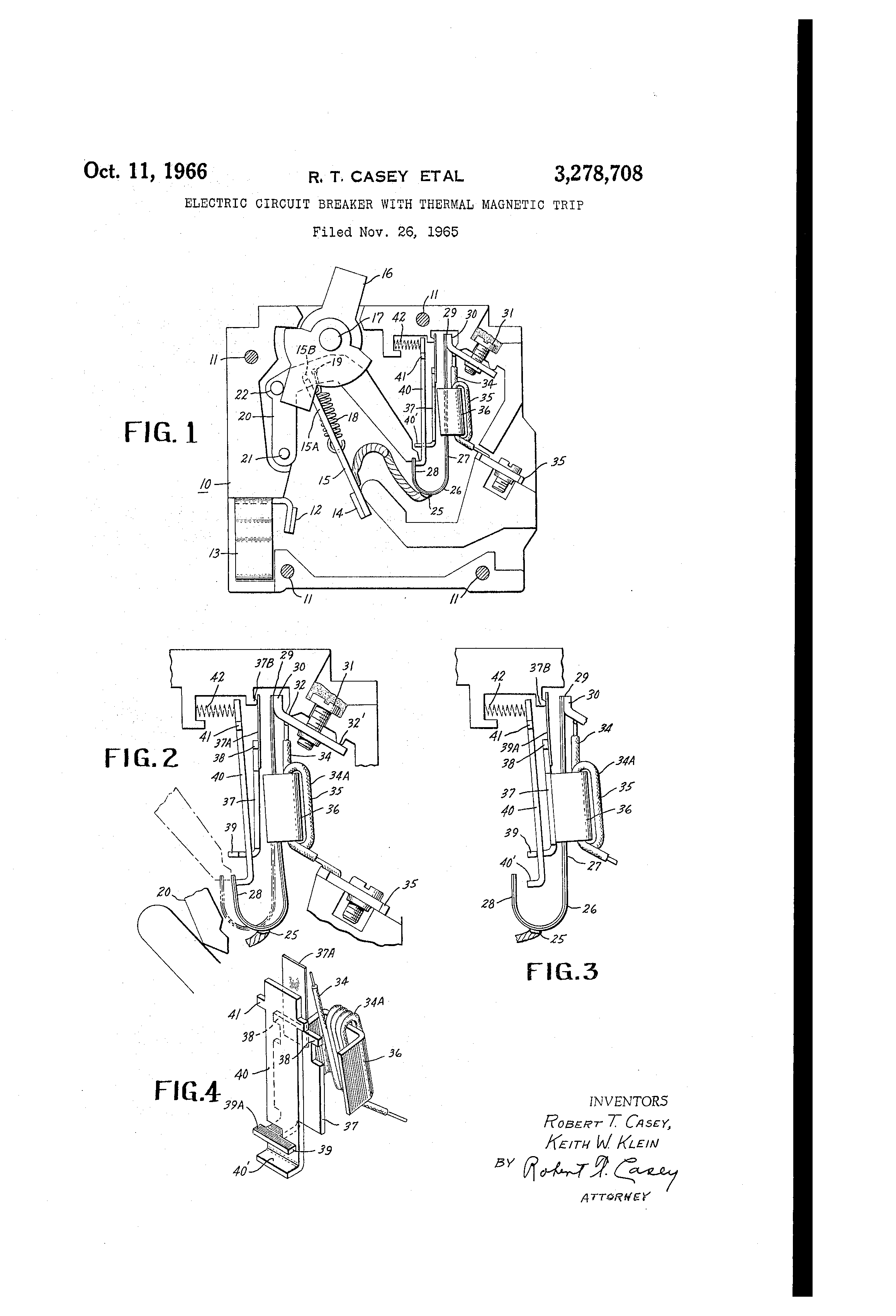 patent us3278708 - electric circuit breaker with thermal magnetic trip