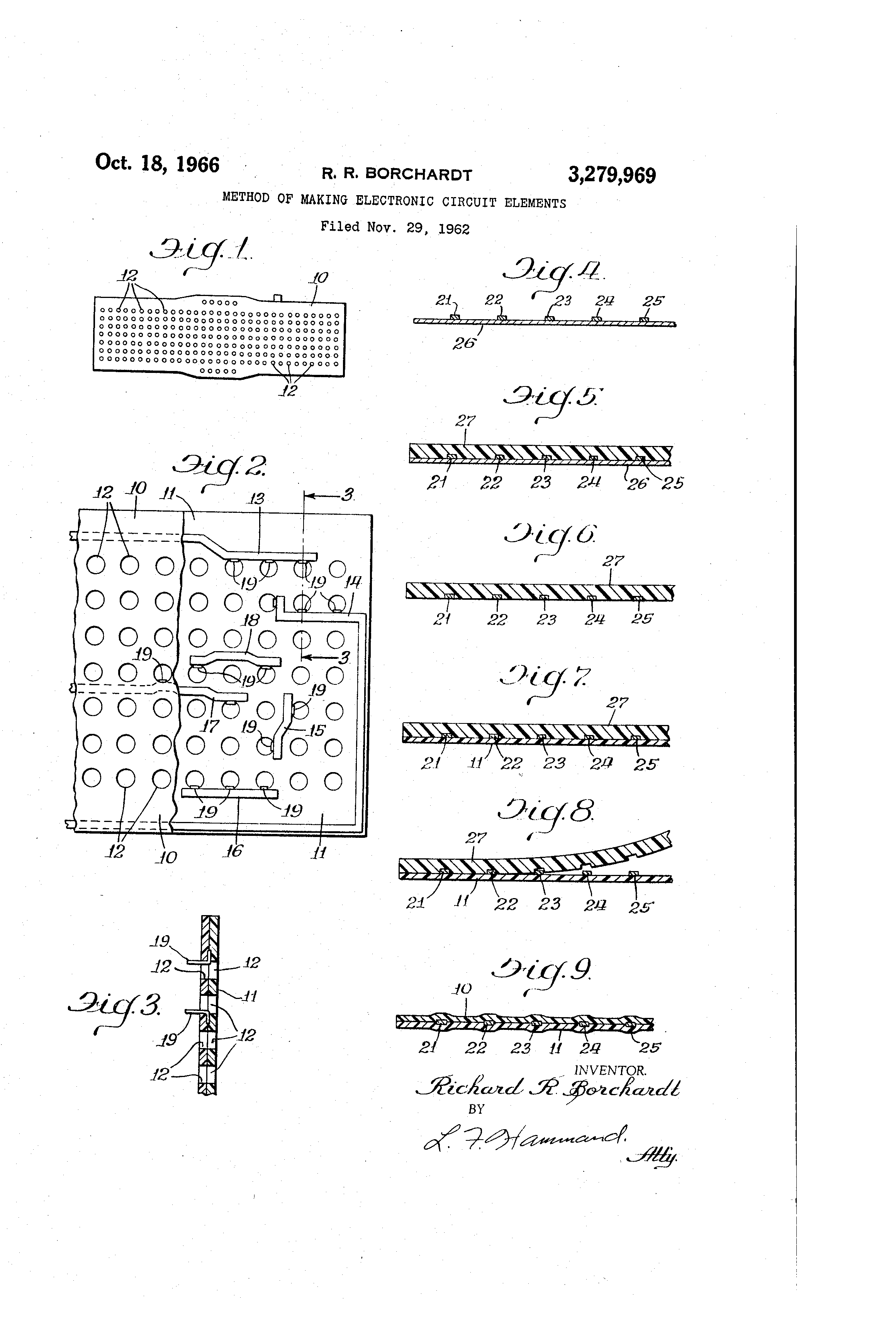Brevet Us3279969 Method Of Making Electronic Circuit Elements Build Circuits Patent Drawing