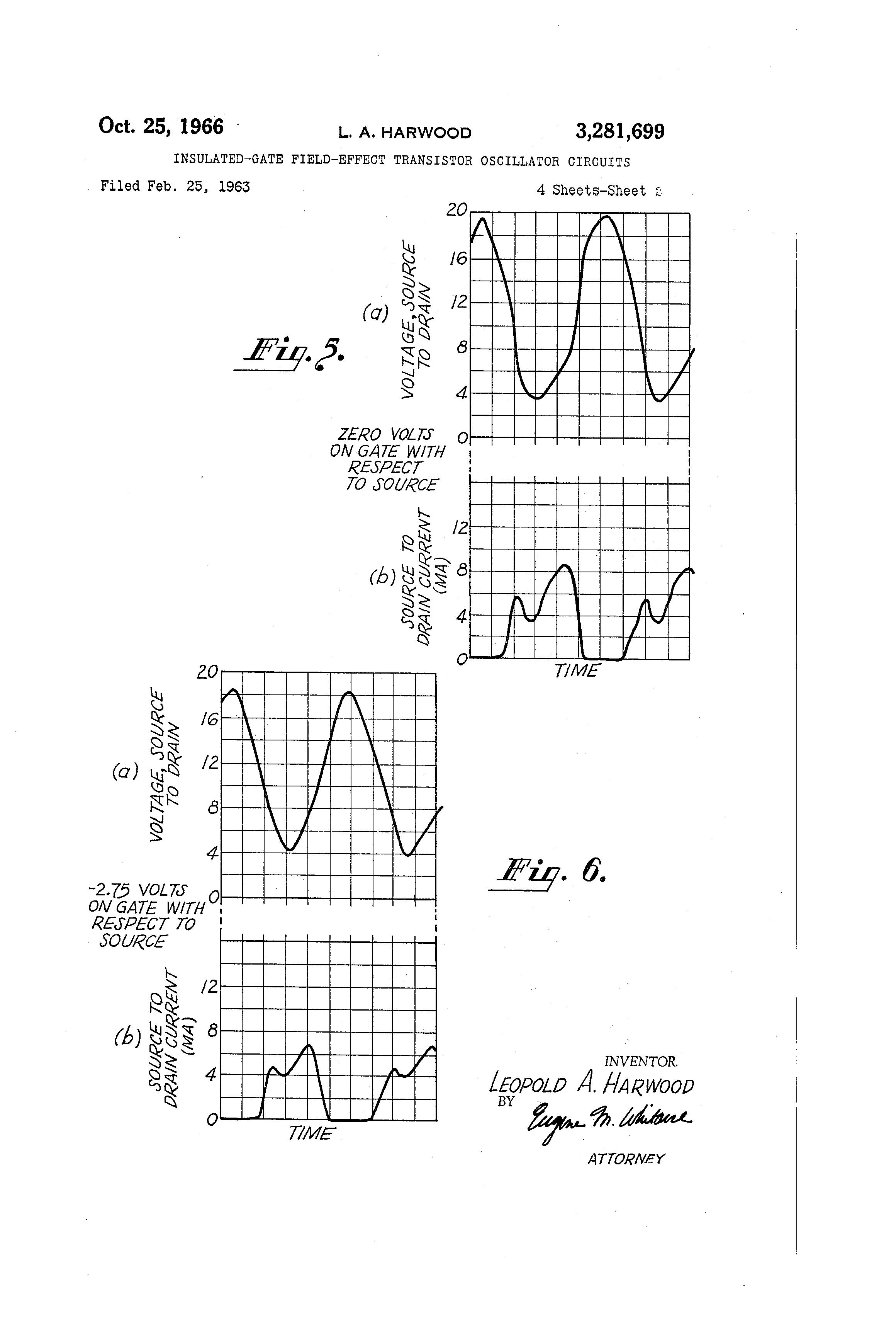 Patente Us3281699 Insulated Gate Field Effect Transistor Basic Oscillator Circuit Patent Drawing