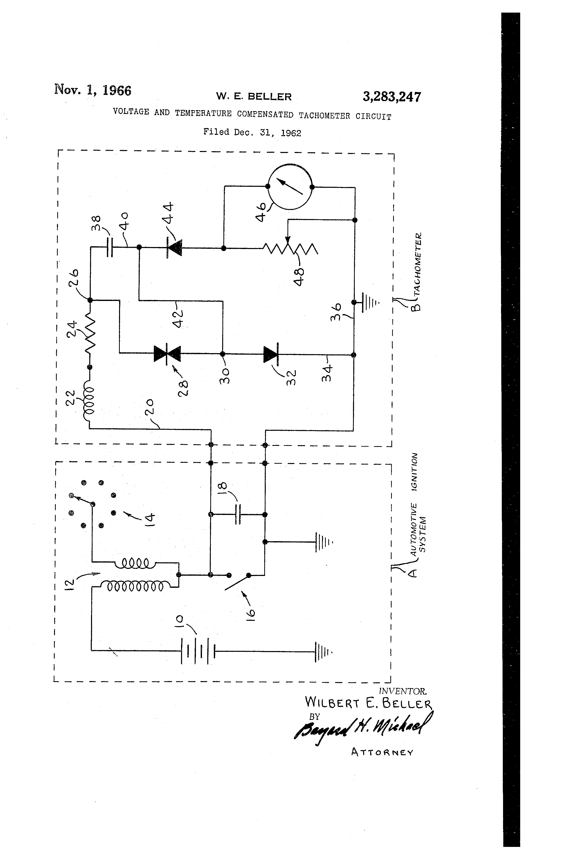 Patent Us3283247 Voltage And Temperature Compensated Tachometer Motorola Wiring Diagram Drawing