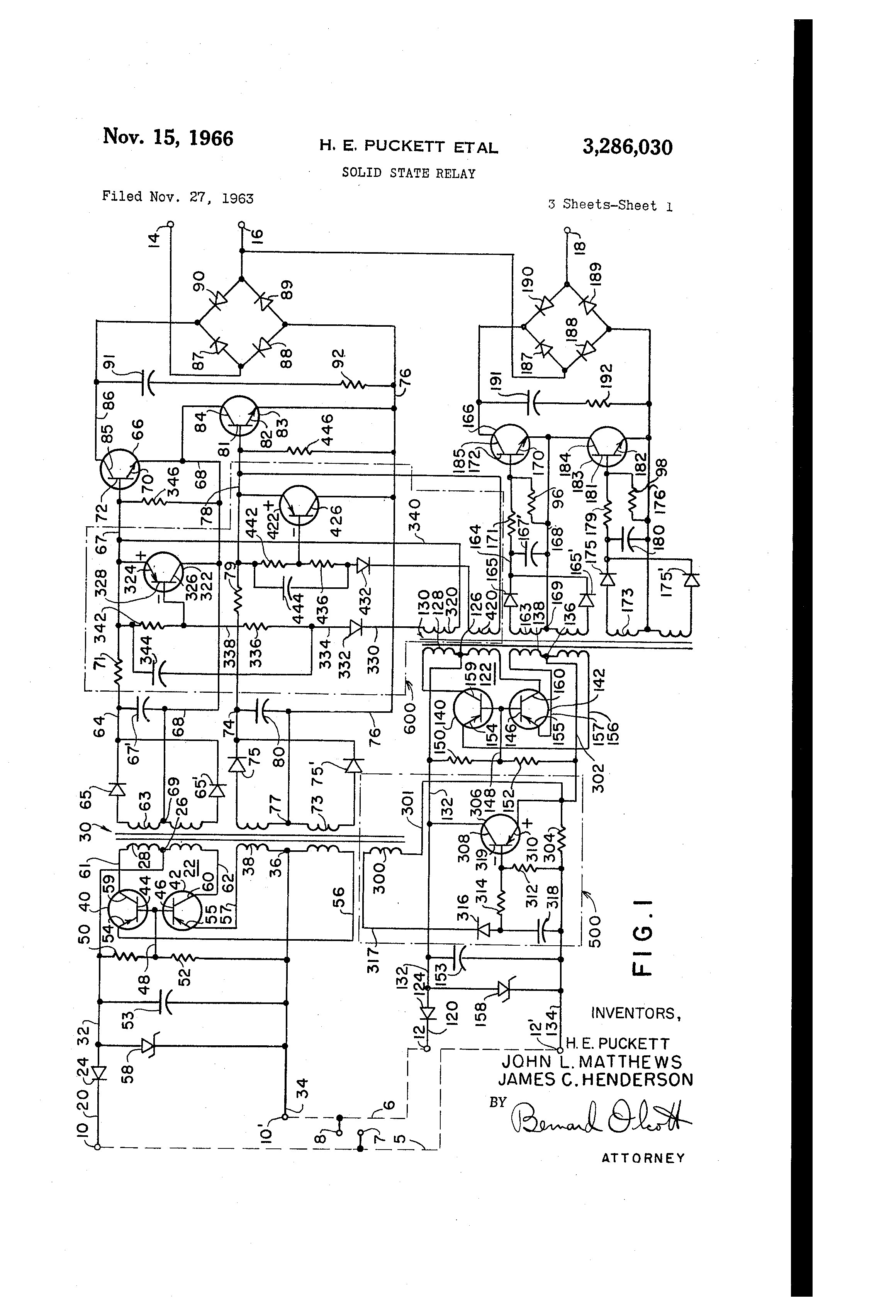 Patent Us3286030 Solid State Relay Google Patents Transistors Equivalent Circuit Of A Electrical Drawing