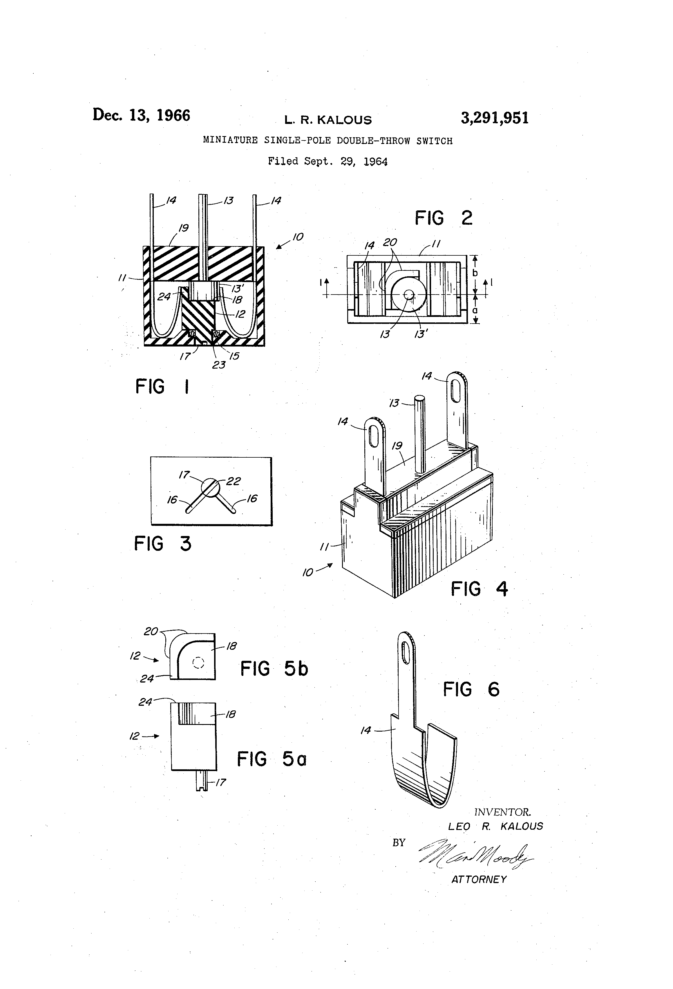 Patent Us3291951 Miniature Single Pole Double Throw Switch Switches Drawing