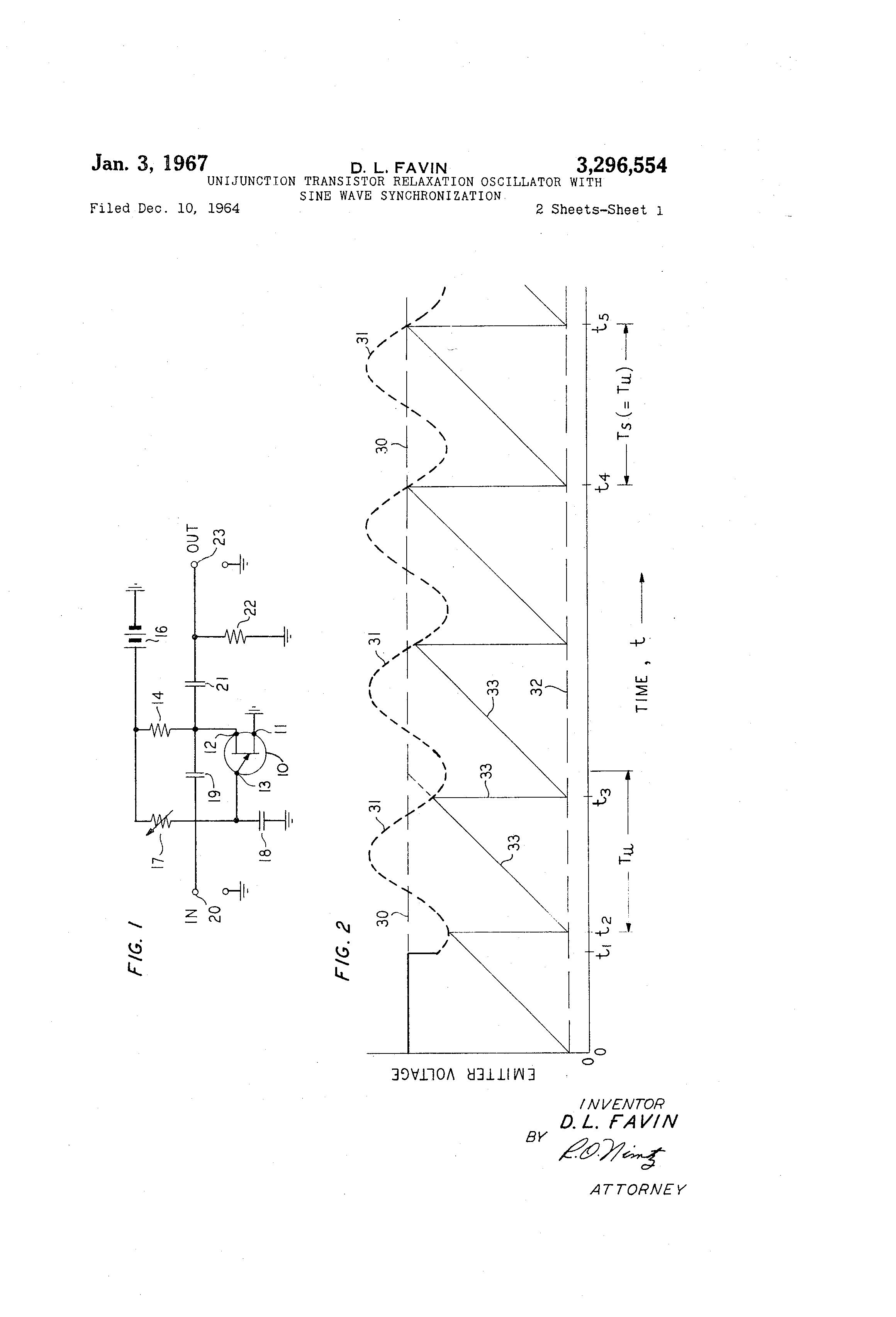 Patent Us3296554 Unijunction Transistor Relaxation Oscillator With Ujt Uni Junction Transistors Sine Wave Synchronization Google Patents