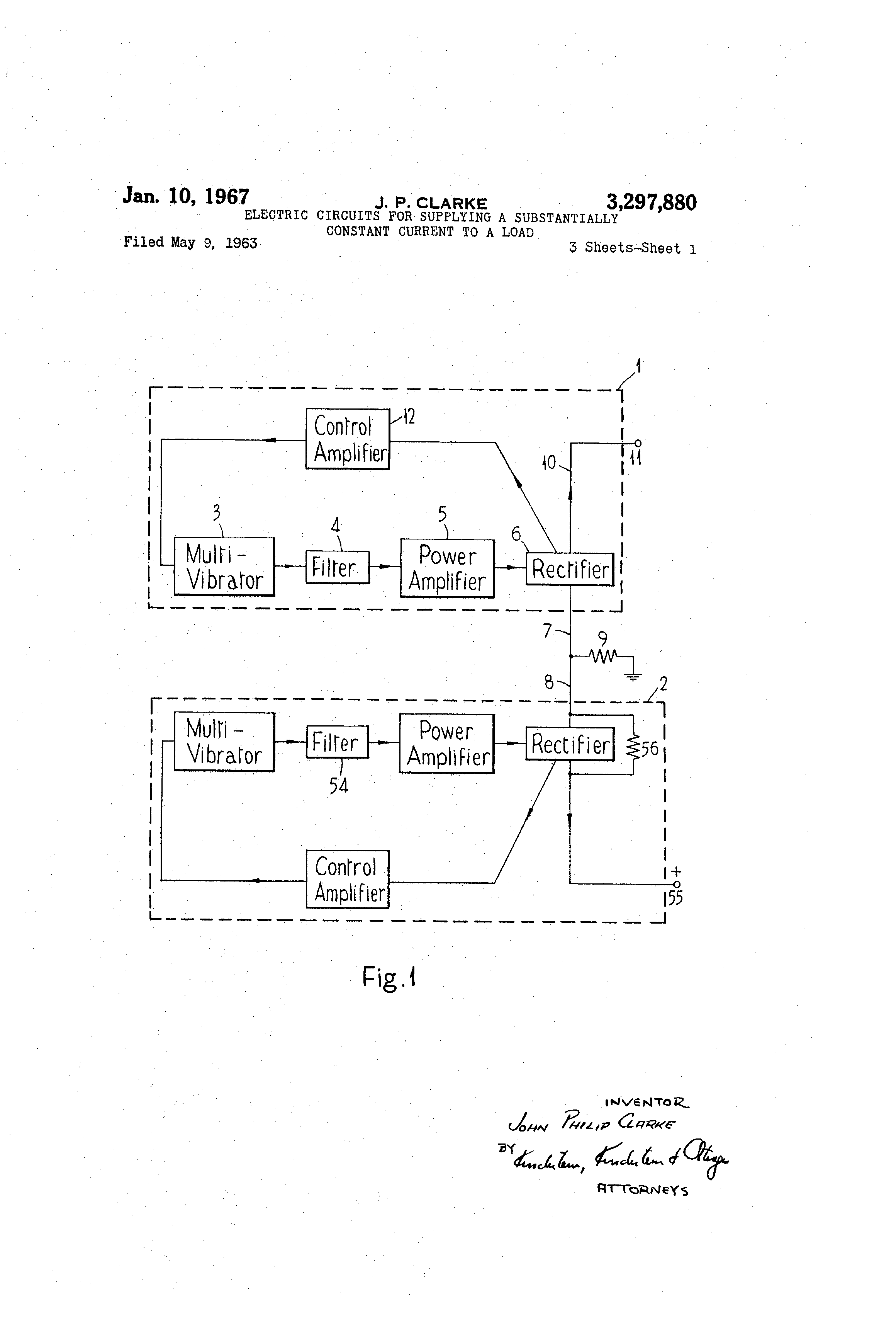 Patent Us3297880 Electric Circuits For Supplying A Substantially Constant Current Circuit Diagram Electronic Drawing
