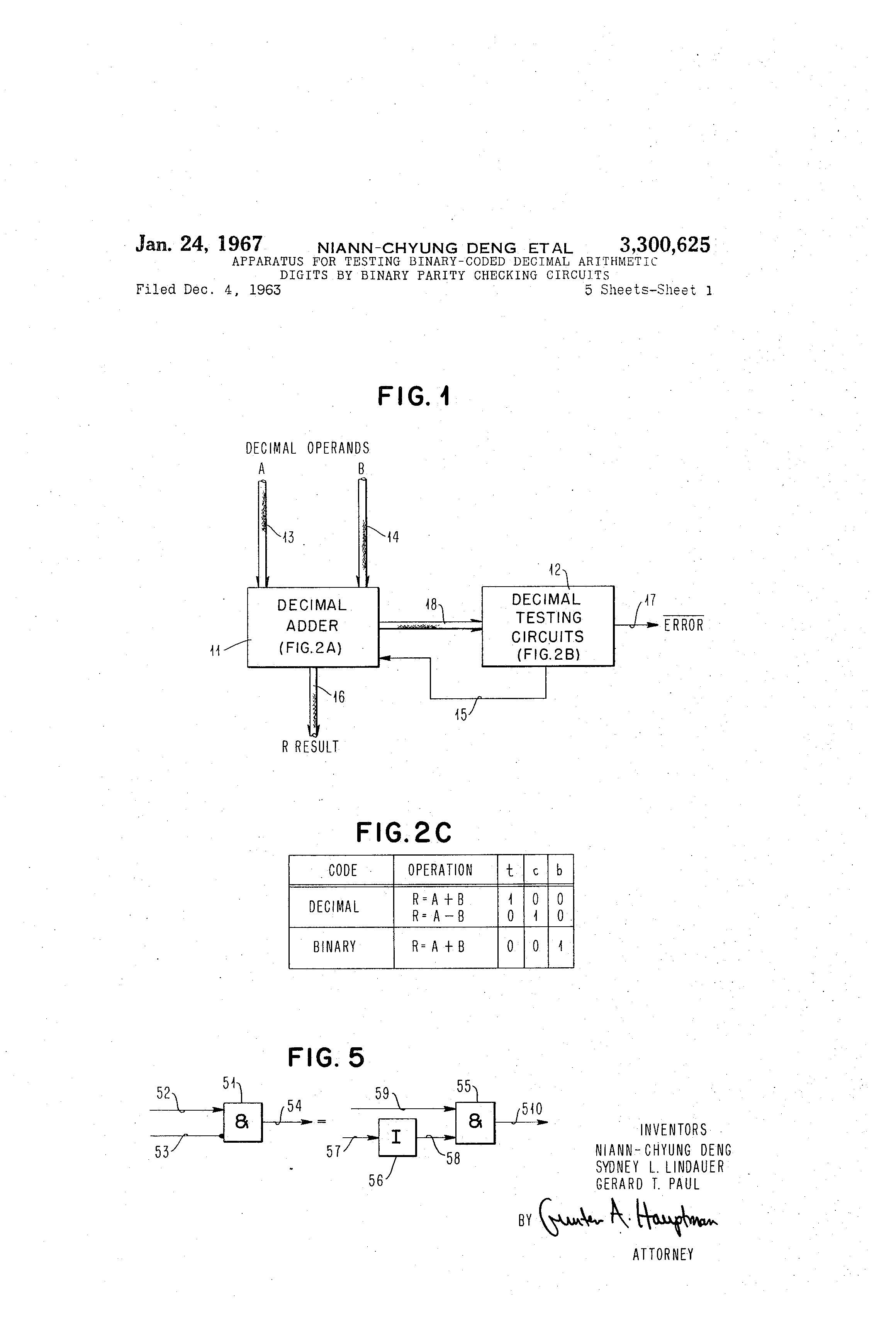 Patent Us3300625 Apparatus For Testing Binary Coded Decimal Subtractor Circuit Drawing