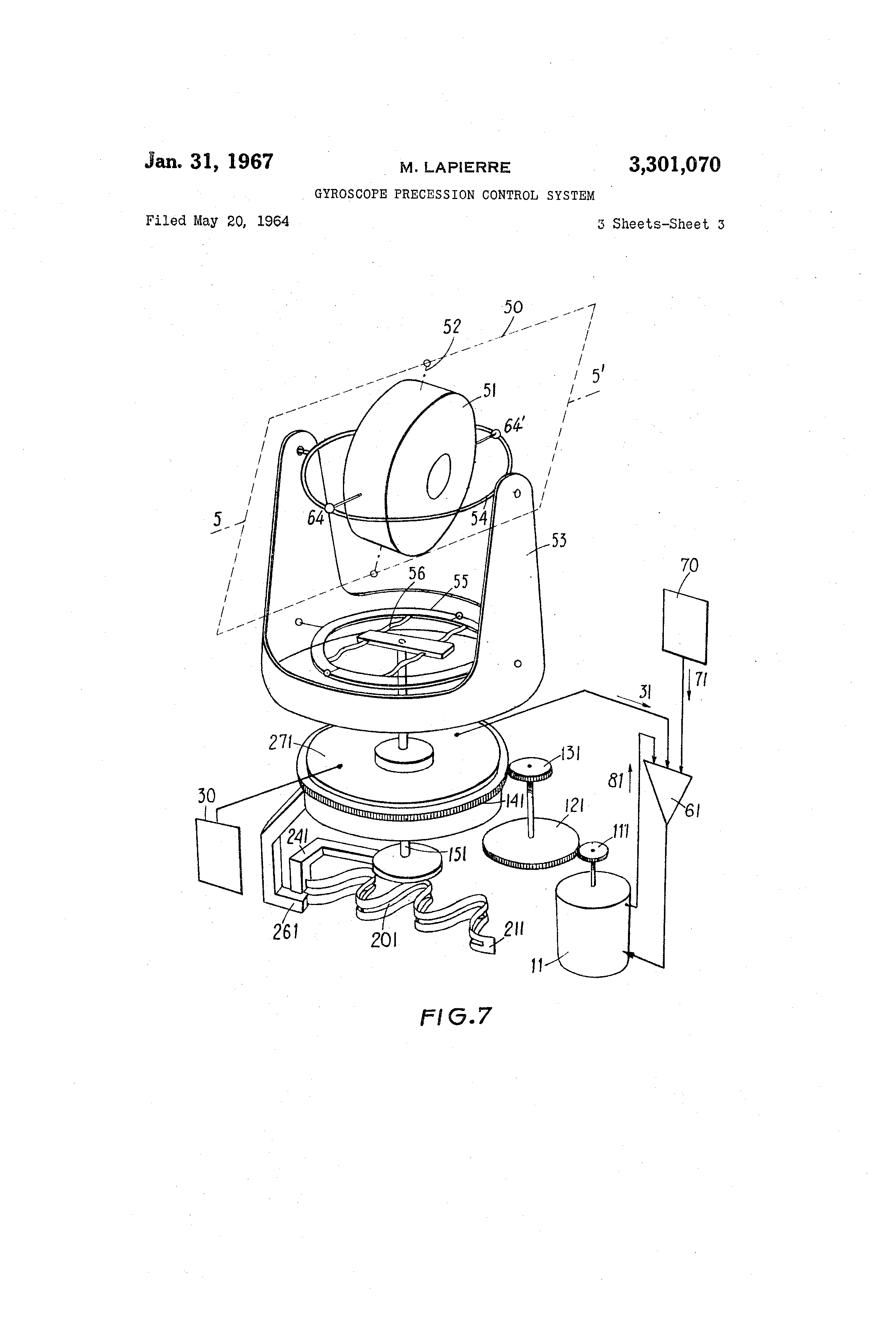 patent us3301070 - gyroscope precession control system