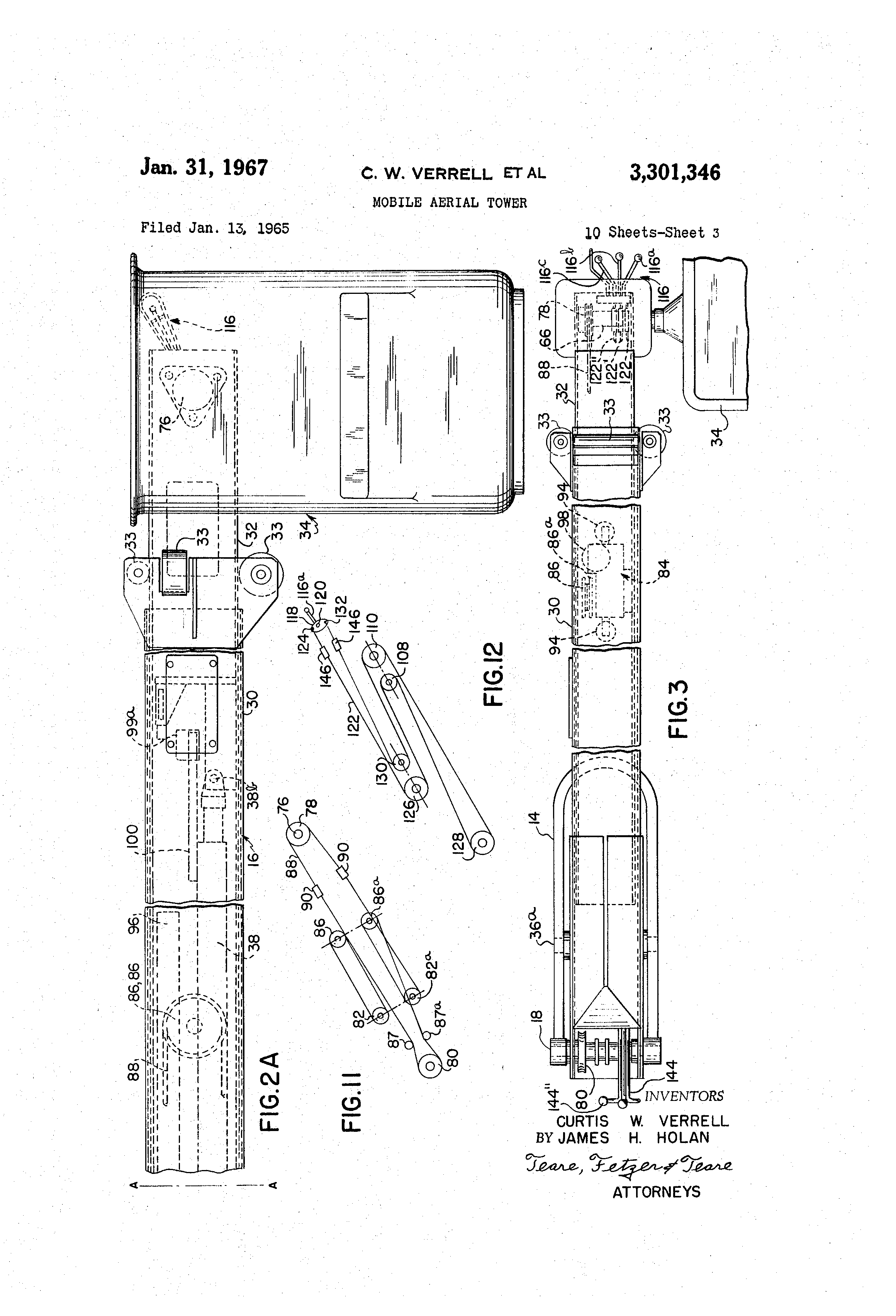 patent us3301346 - mobile aerial tower