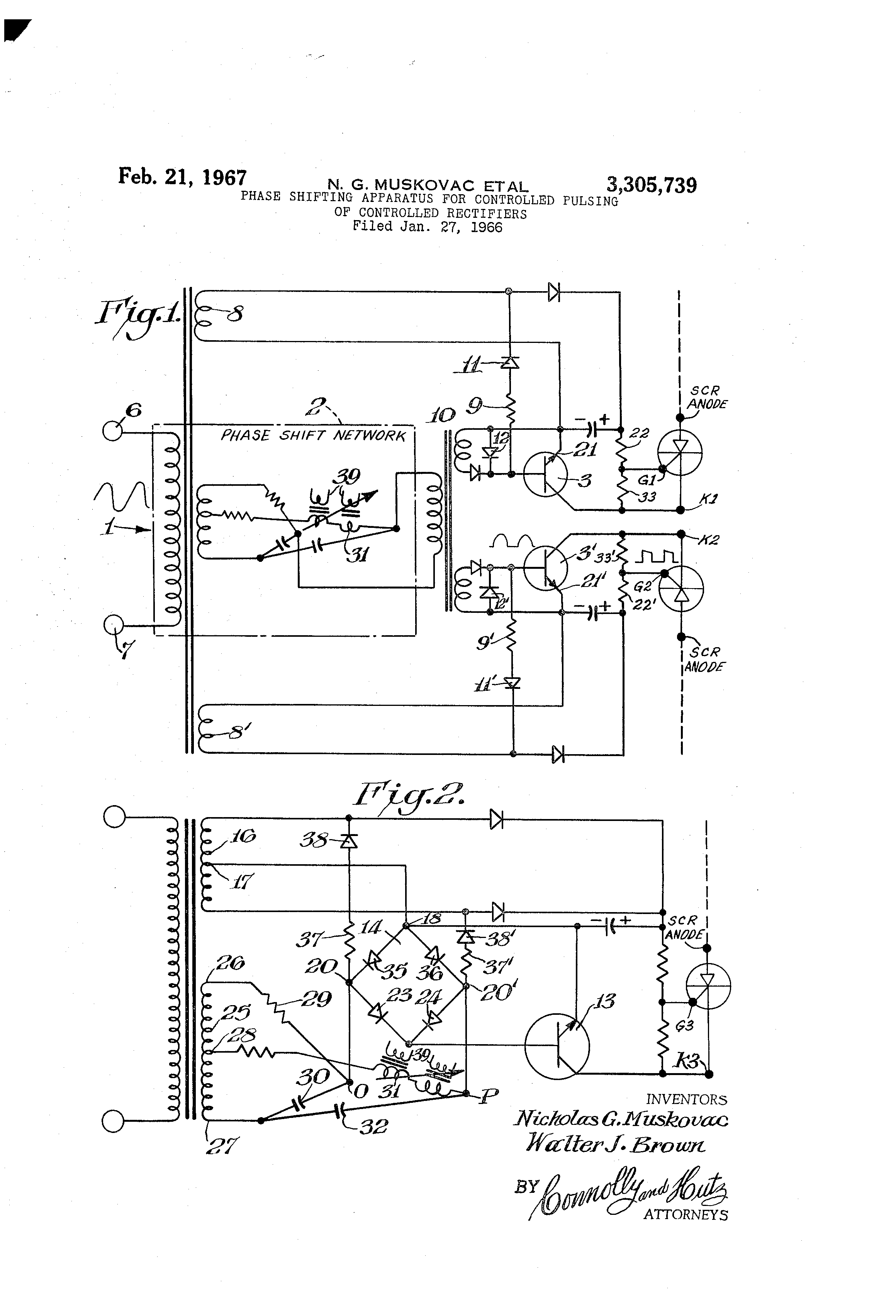 Patent Us3305739 Phase Shifting Apparatus For Controlled Pulsing Scr As Half Wave Rectifier Drawing