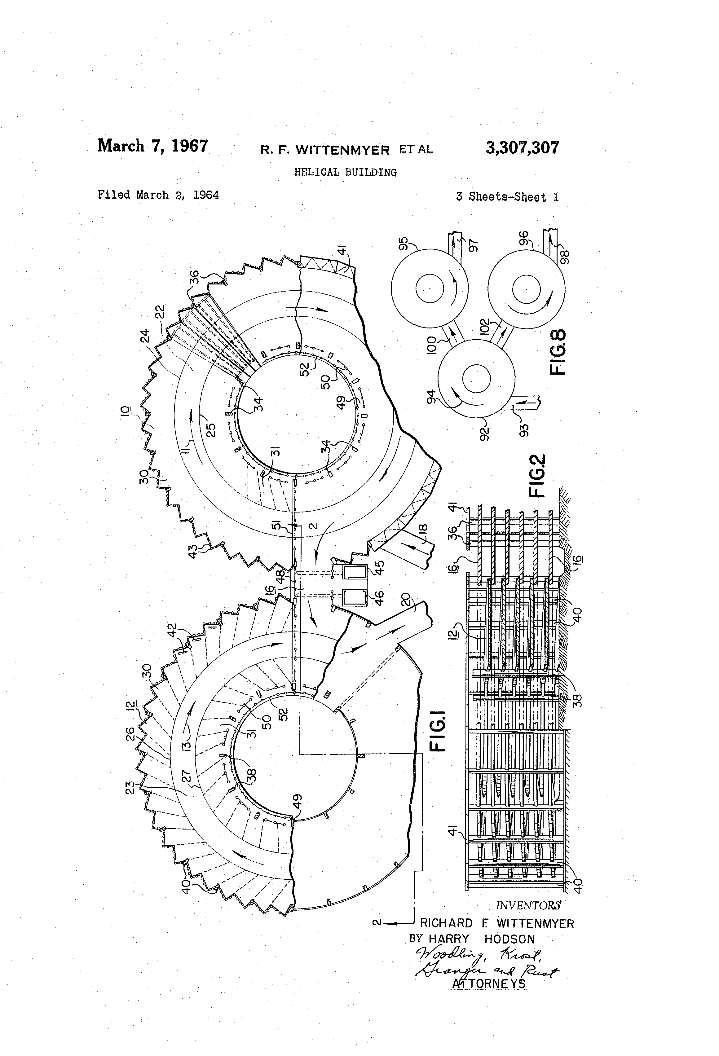 Patent US3307307 - Helical building - Google Patents