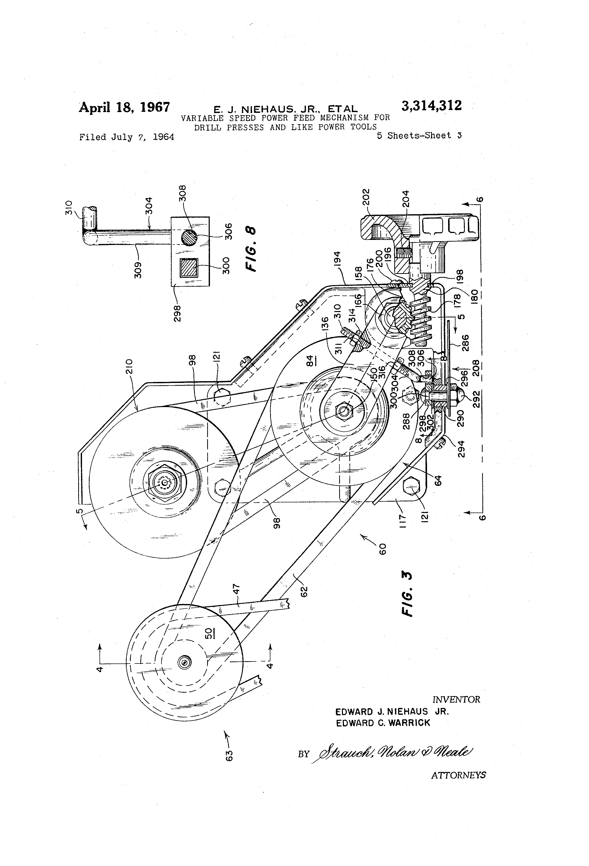 Patent Us3314312 Variable Speed Power Feed Mechanism For Drill Press Is Preferable To A Hand When Drawing