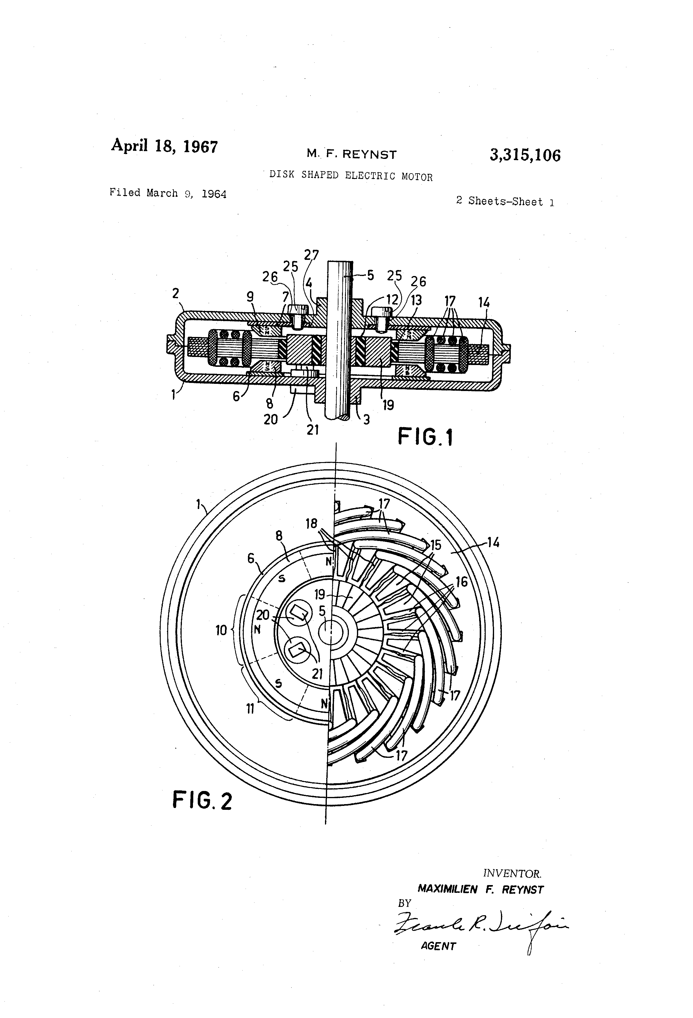 patent us3315106 - disk shaped electric motor